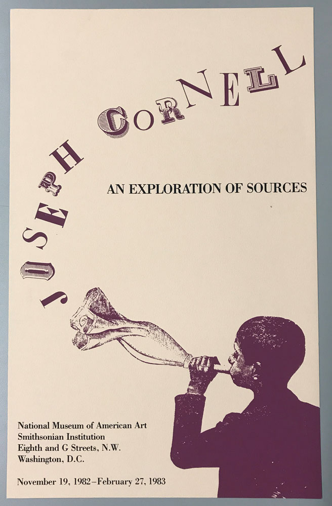 Off white poster with purple boy blowing into cloth with 'Joseph Cornell' in stylized text coming out of cloth.