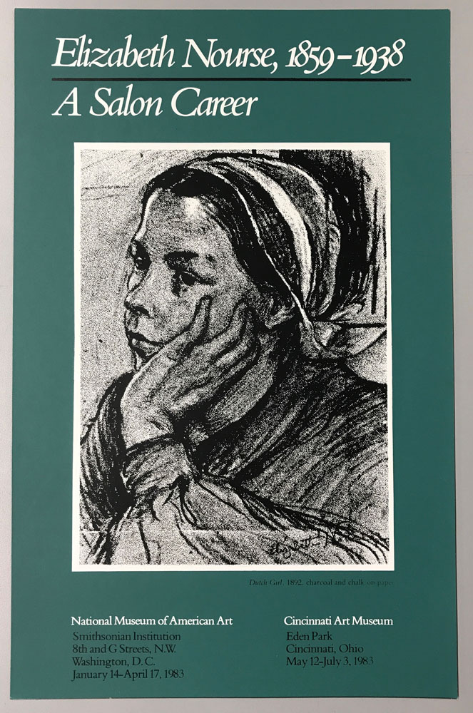 Medium green poster with b&w drawing of woman in profile resting head in hand.