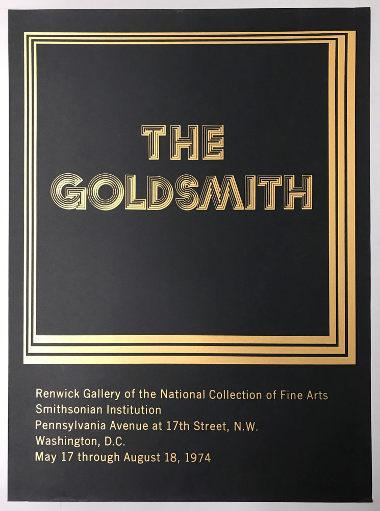 "Black and gold poster with ""The Goldsmith"" in golden letters with a discotheque font."