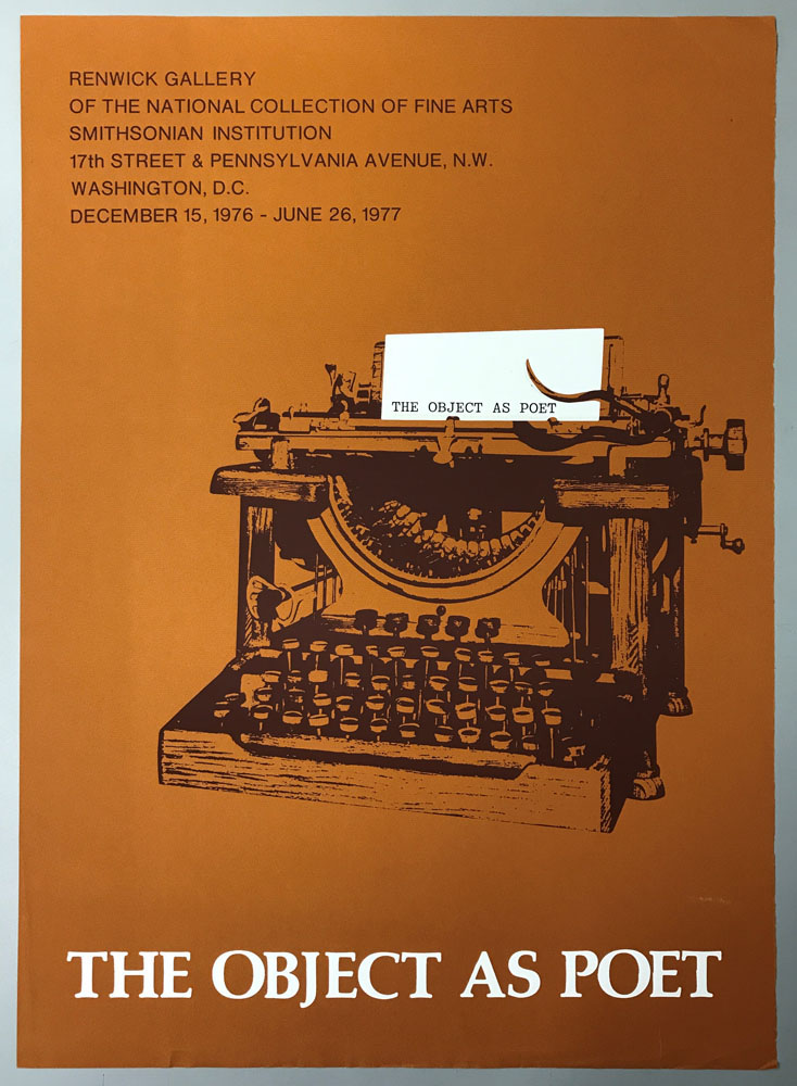 Rusty orange poster with typewriter in black and white paper coming out with title of exhibit.