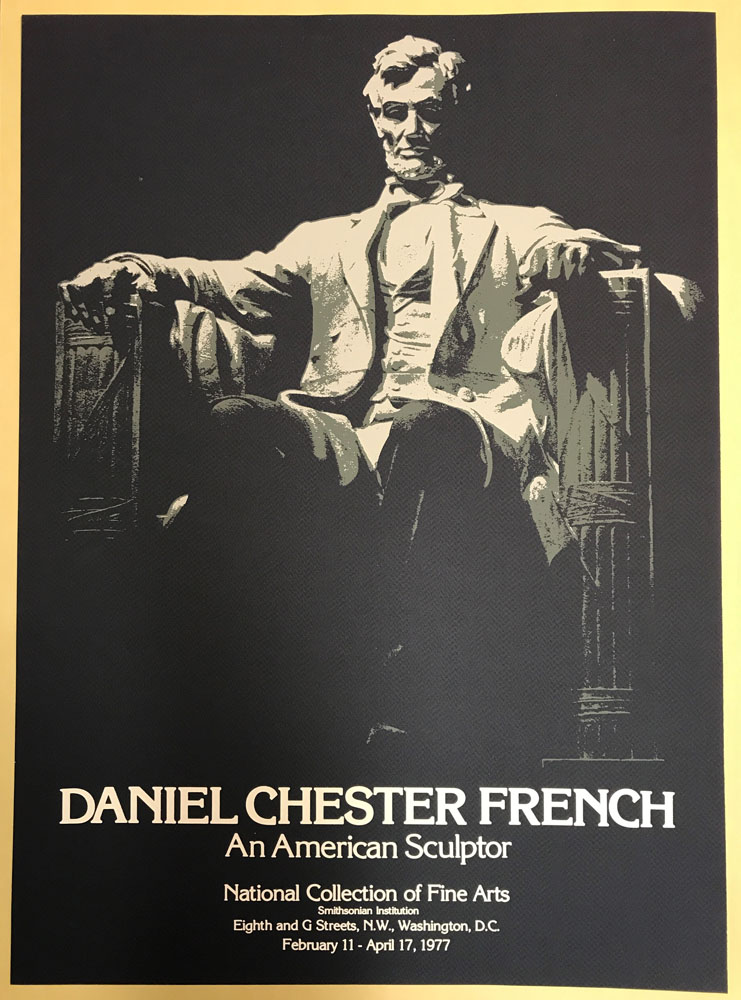 Black and white poster with Lincoln seated sculpture and title of exhibit.