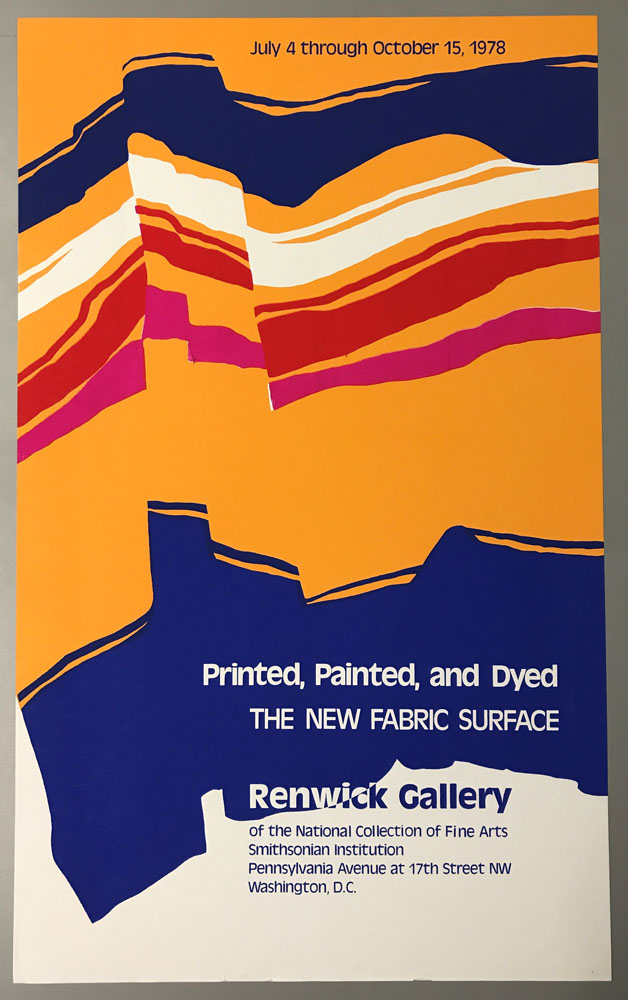Vertically oriented poster of abstract fabric in blue, orange, pink, and white.