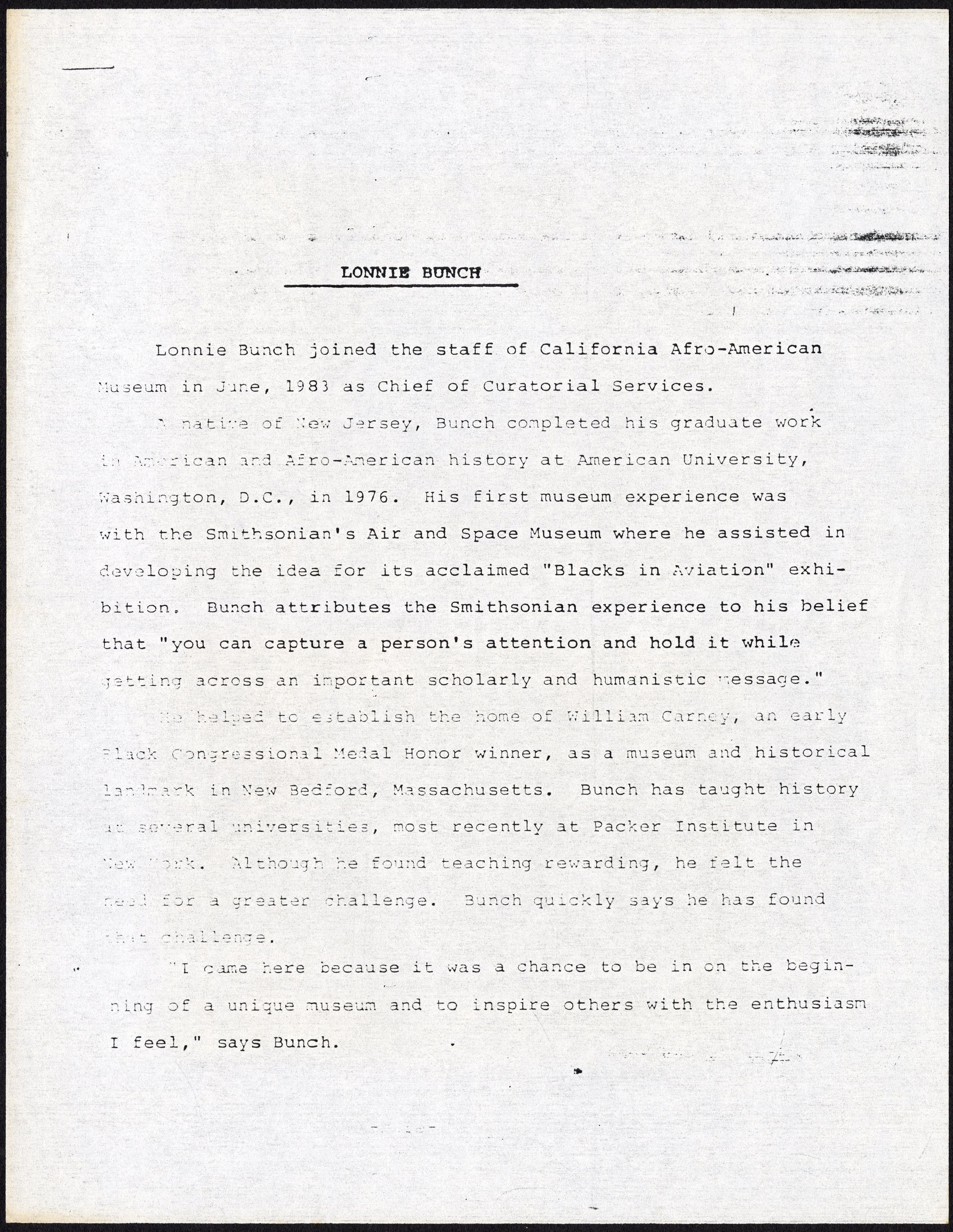 Press Release - Lonnie G. Bunch - California Afro-American Museum, 1983, page 1. Accession 19-200: L