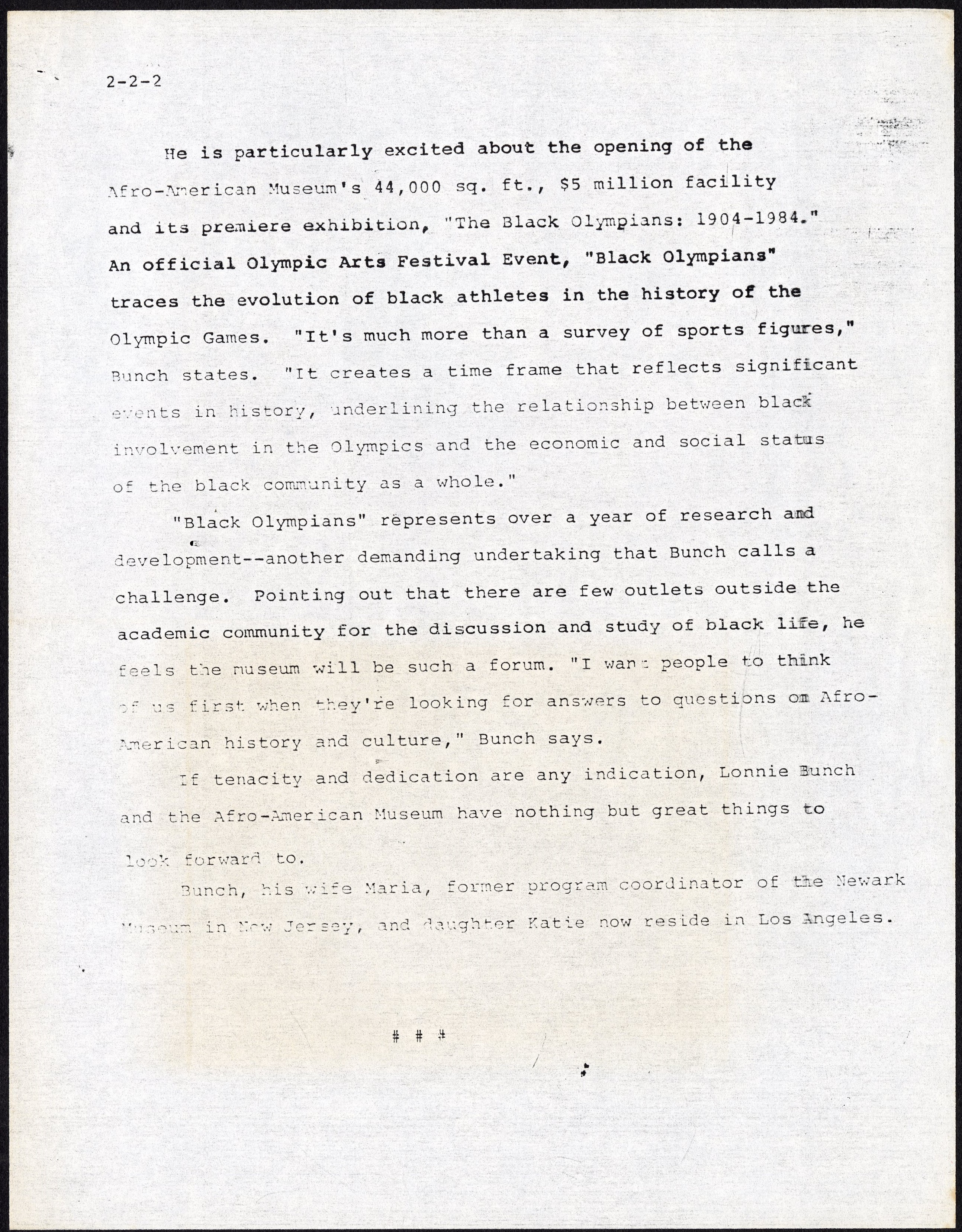 Press Release - Lonnie G. Bunch - California Afro-American Museum, 1983, page 2. Accession 19-200: L