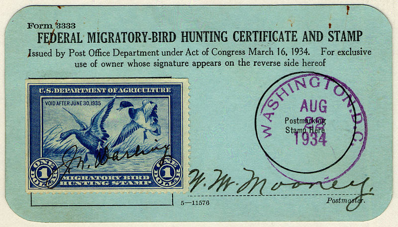 "The stamp above on a paper titled ""Federal Migratory-Bird Hunting Certificate and Stamp."""