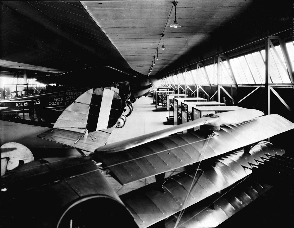 Interior of National Air Museum's Aircraft Building, located in South Yard behind the Smithsonian Institution Building.  Smithsonian Institution Archives, Record Unit 95, Box 41, Folder 21.