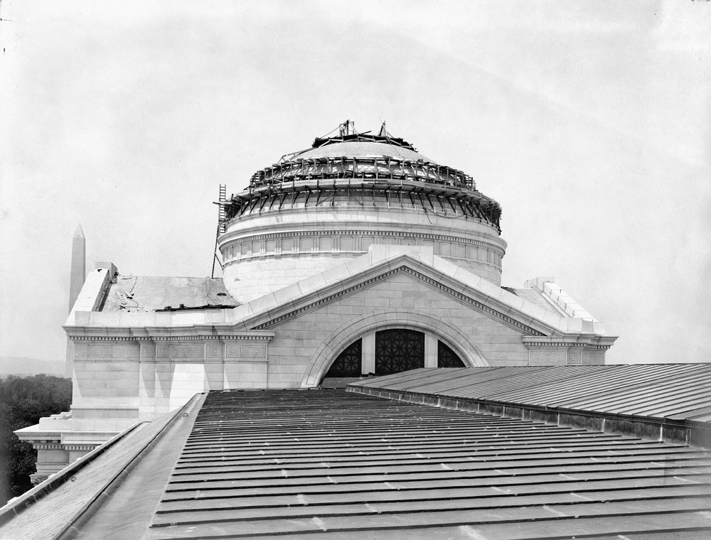 Construction work on the dome of the National Museum of Natural History on July 2, 1909. Smithsonian Institution Archives, Record Unit 79, Box 9, Folder 5.