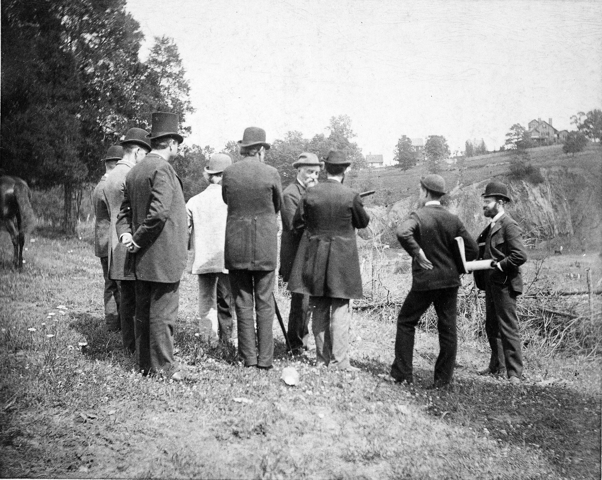 Secretary Samuel P. Langley with others survey the grounds of the newly established National Zoological Park. Smithsonian Institution Archives, Record Unit 95, Box 35, Folder 3.