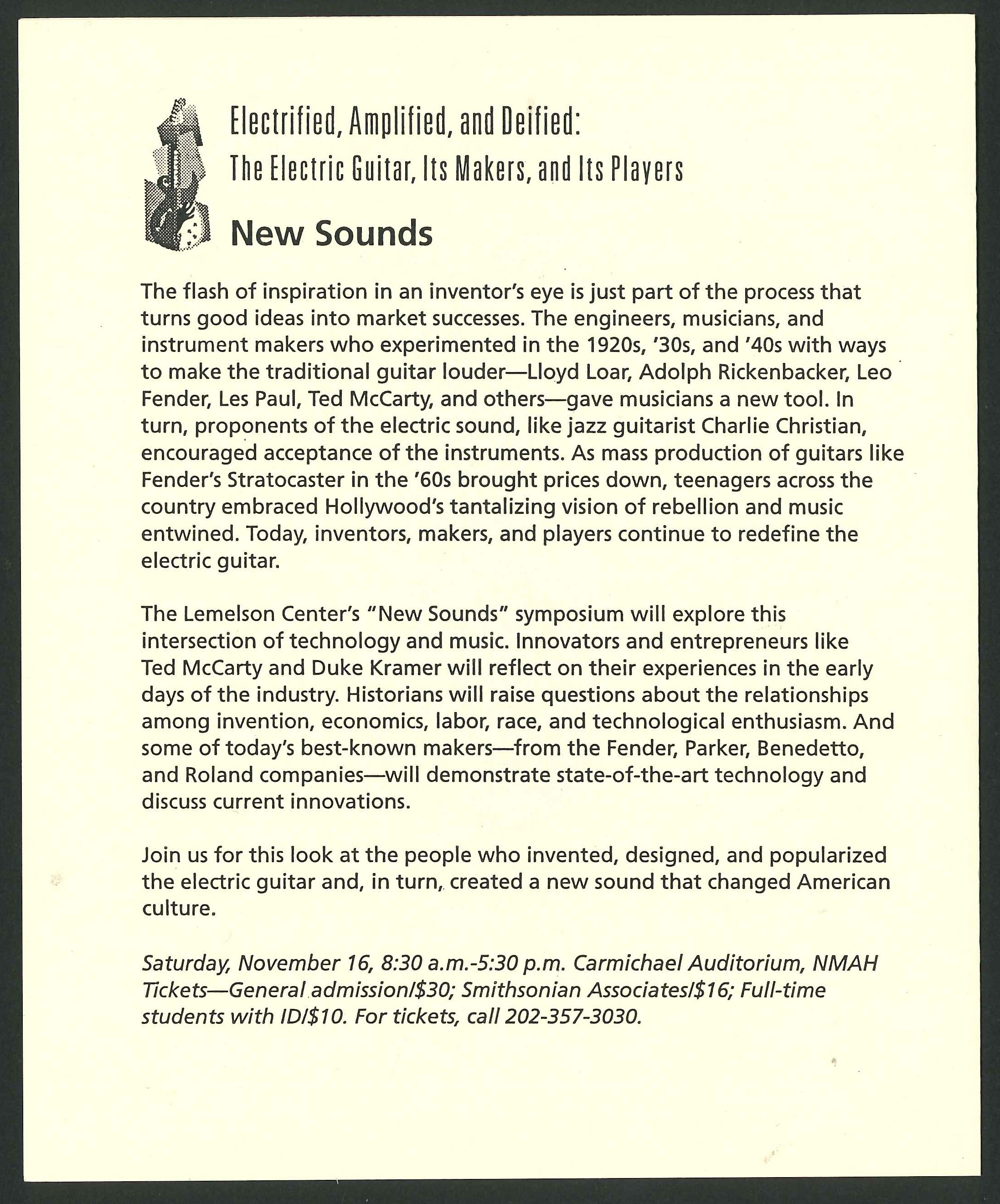First page of the program for the New Sounds symposium at the National Museum of American History on