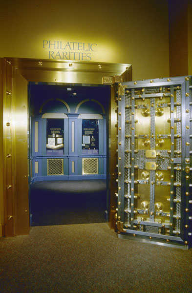 The entrance to the Philatelic Rarities Vault located in the National Postal Museum in the Old Washington City Post Office Building. Smithsonian Institution Archives Record Unit 95, Box 34, Folder 42 and Accession 11-009.
