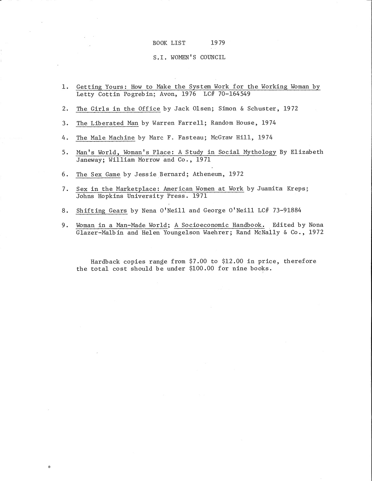 A list of books held by the Smithsonian Women's Council in 1979, and a list of books purchased by th