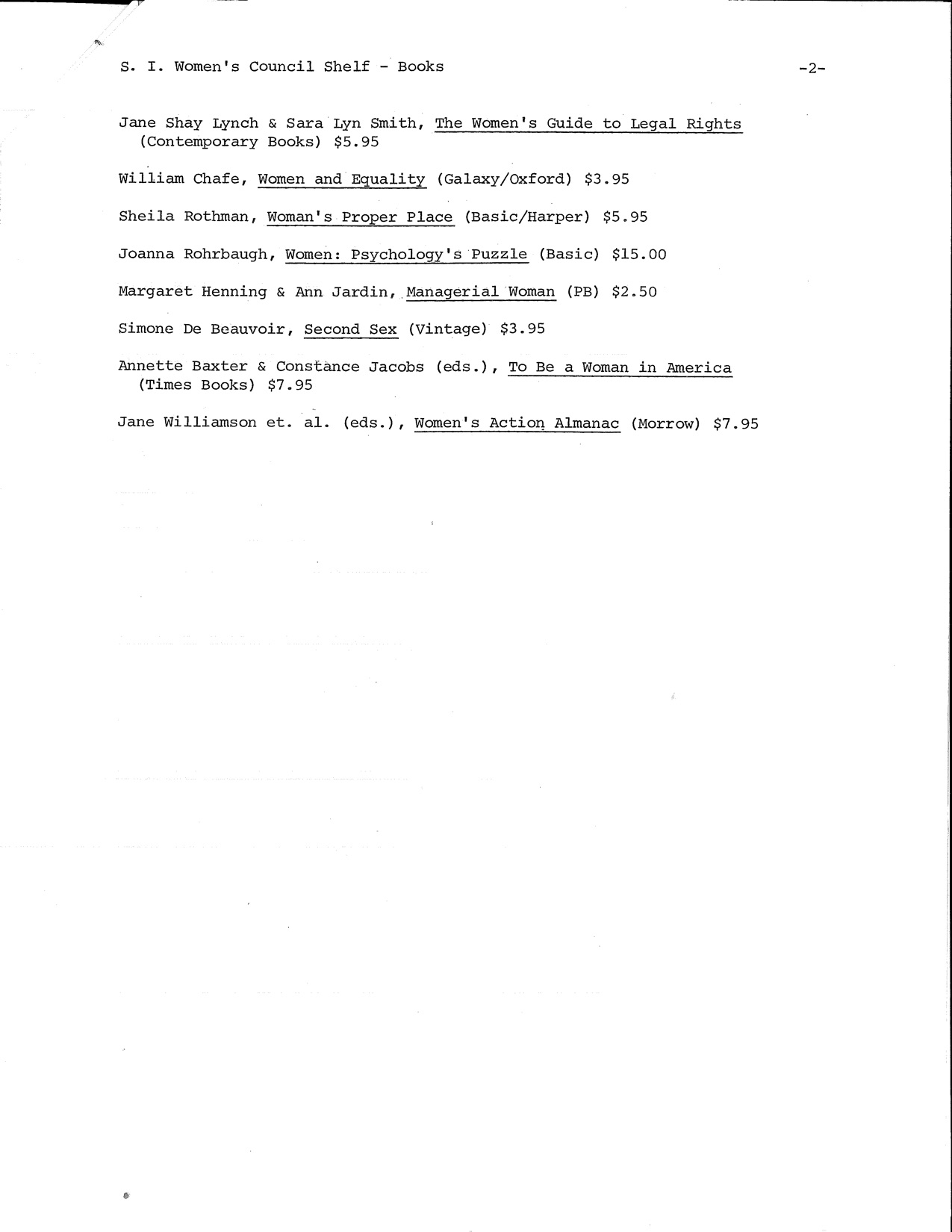 A list of books to be purchased for the Smithsonian Women's Council Library.