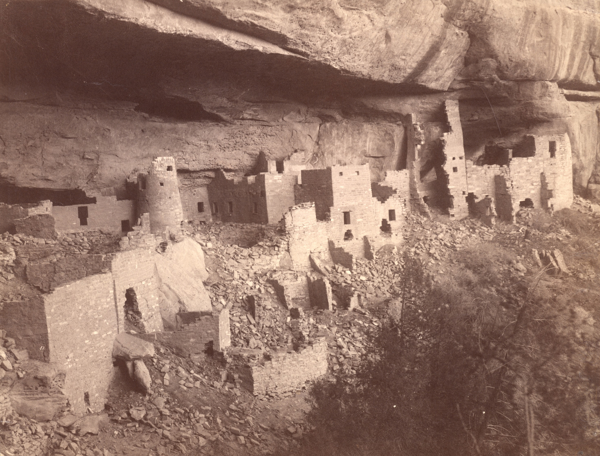 Cliff Palace in Mesa Verde National Park, before excavation and repair by the Smithsonian's Bureau o