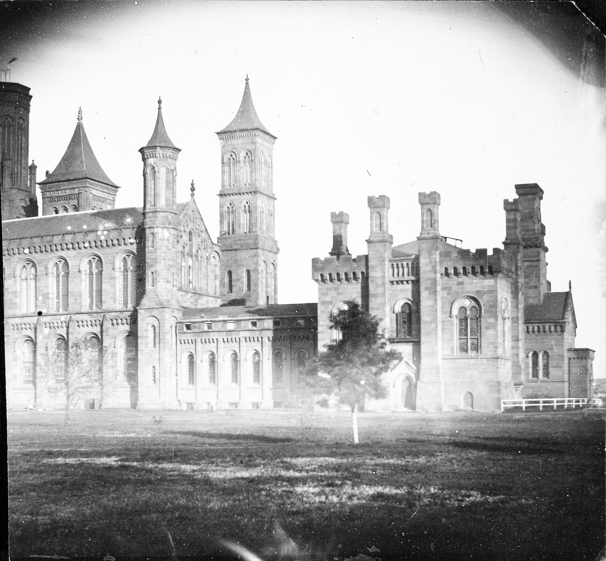B&W image of the East Wing of Smithsonian Castle viewed from the South Yard.