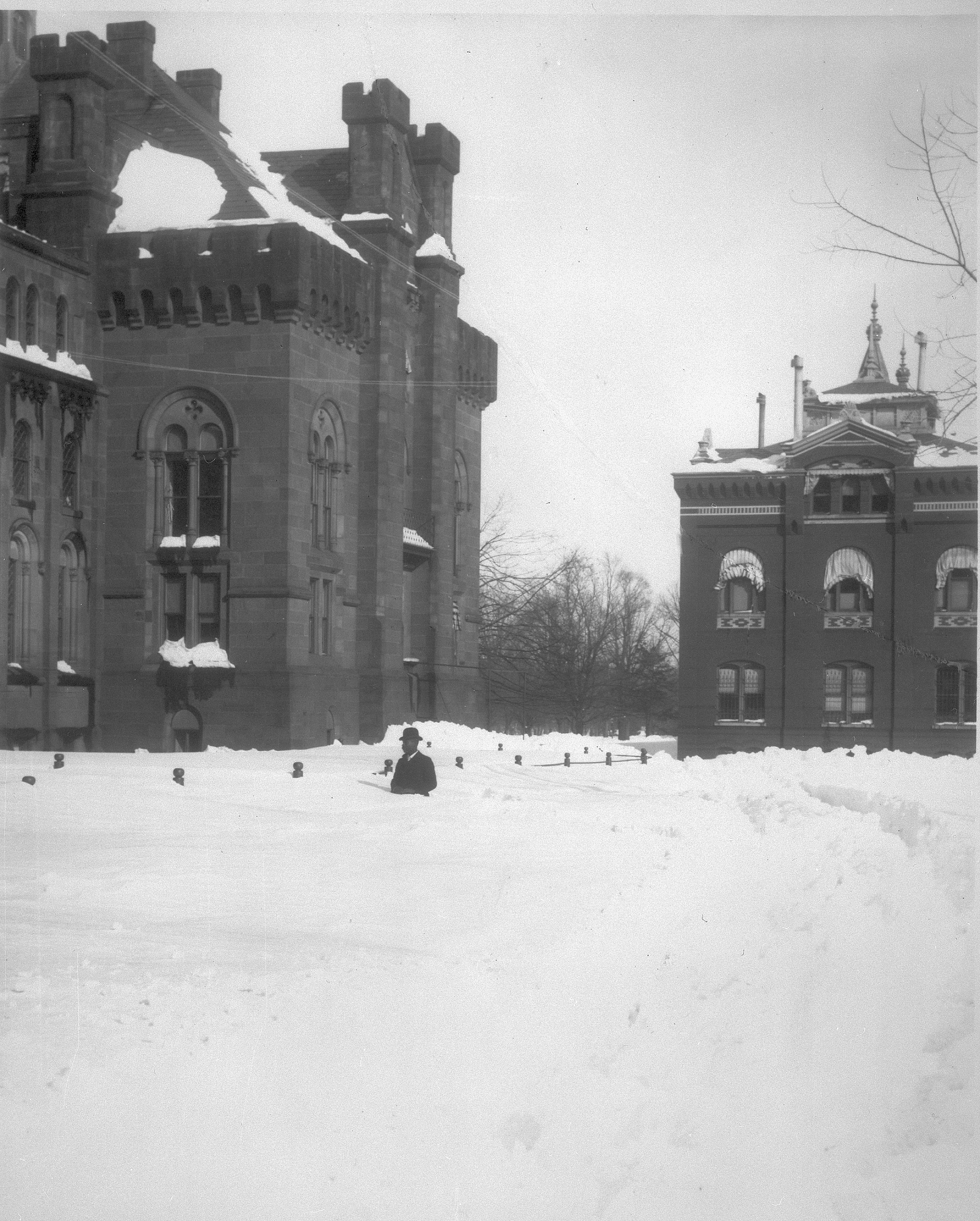 The Smithsonian Castle after the Knickerbocker Snowstorm, 1922.