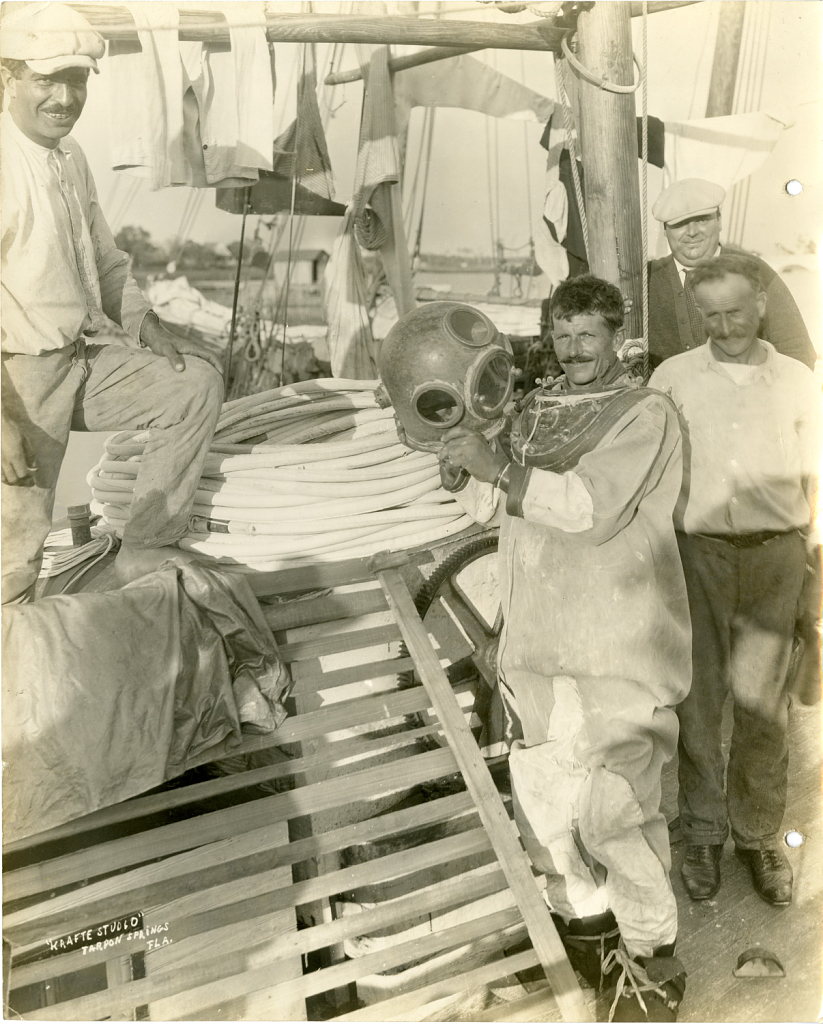 Men preparing for a dive on Tortugas Laboratory Trip, 1930.