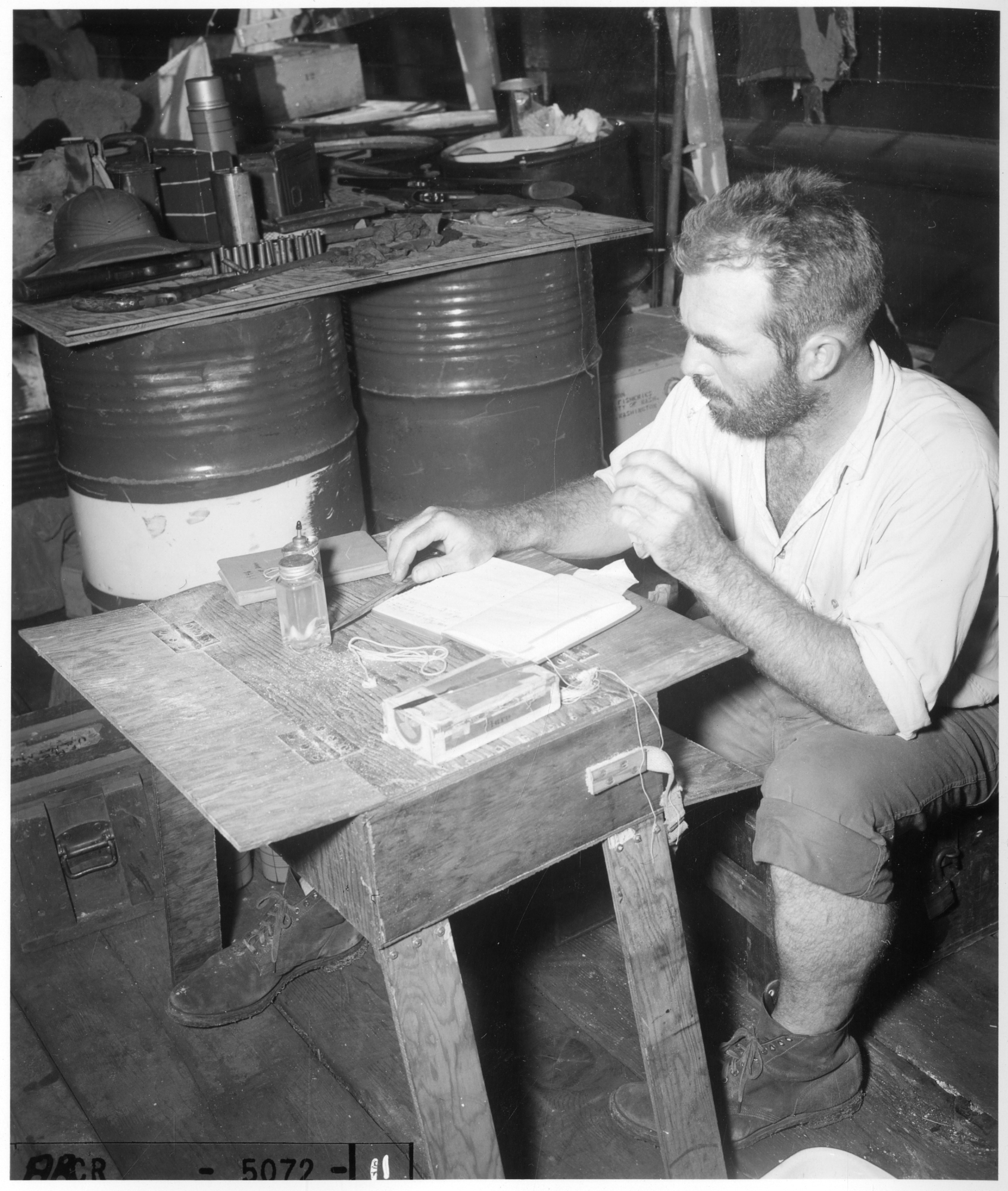 Joseph P. E. Morrison working aboard a ship at Bikini Atoll, 1947.