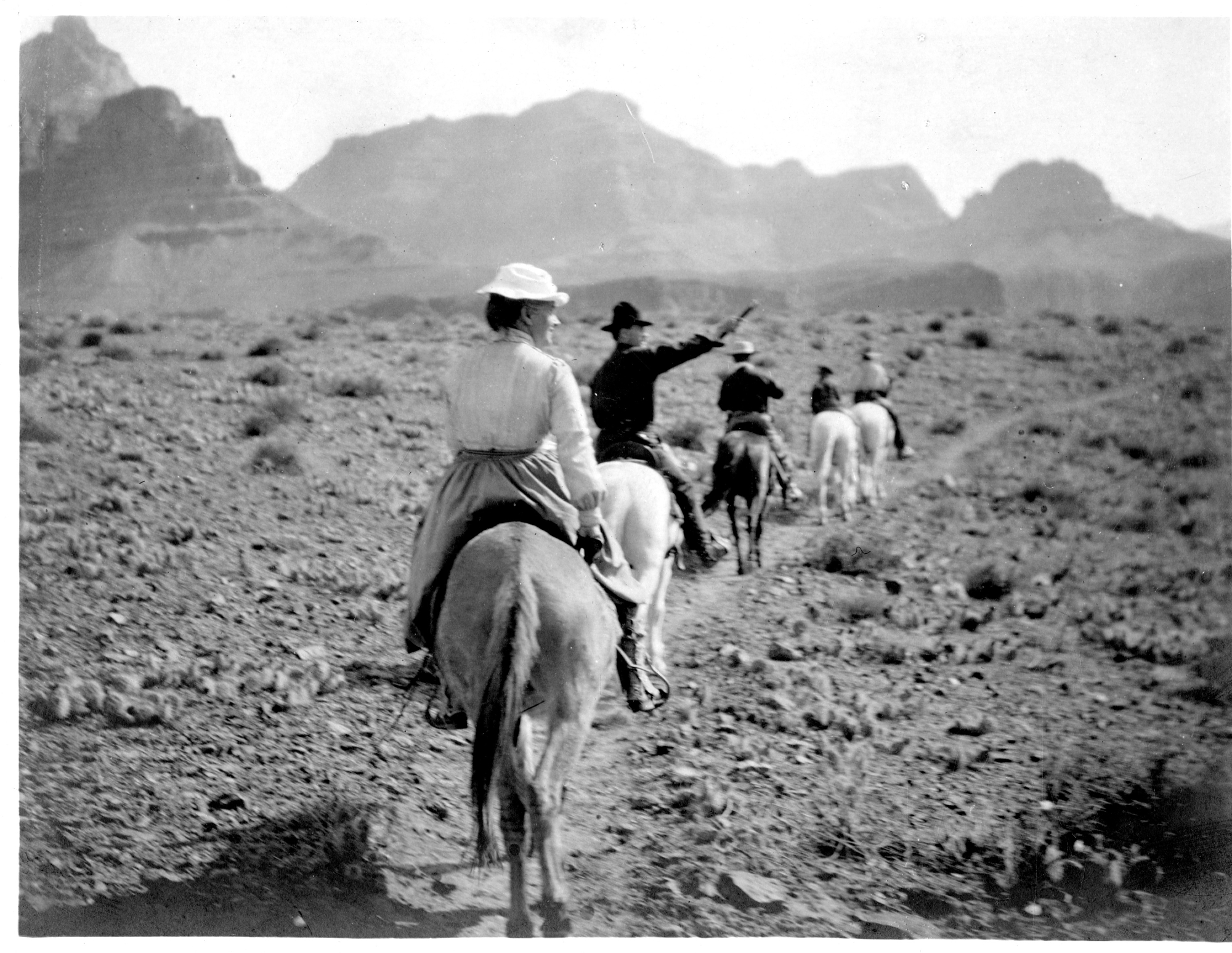 Smithsonian Secretary Charles D. Walcott and his family riding horses through the Grand Canyon, May