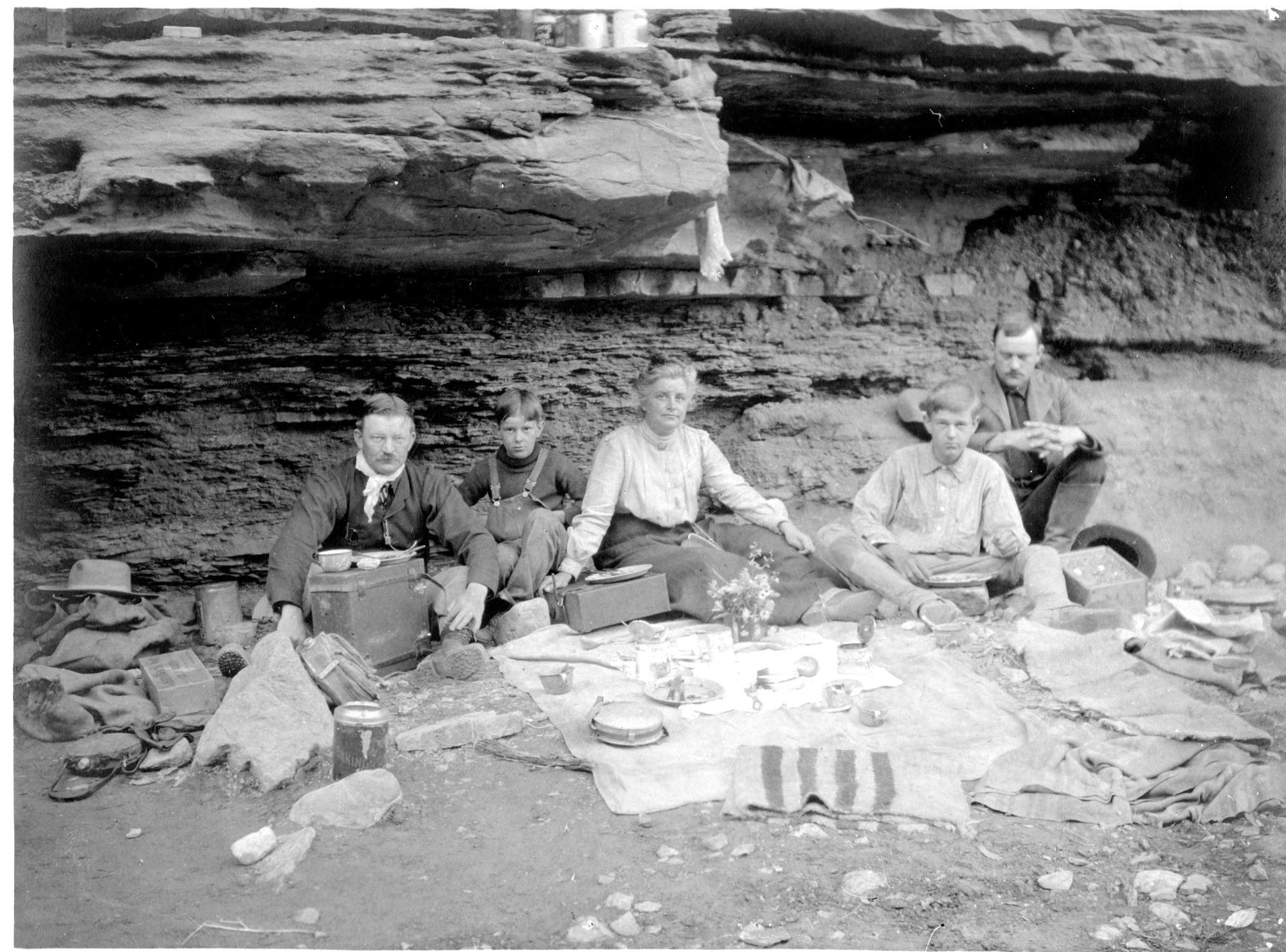 Smithsonian Secretary Charles D. Walcott and his family having a picnic in the Grand Canyon, May 190