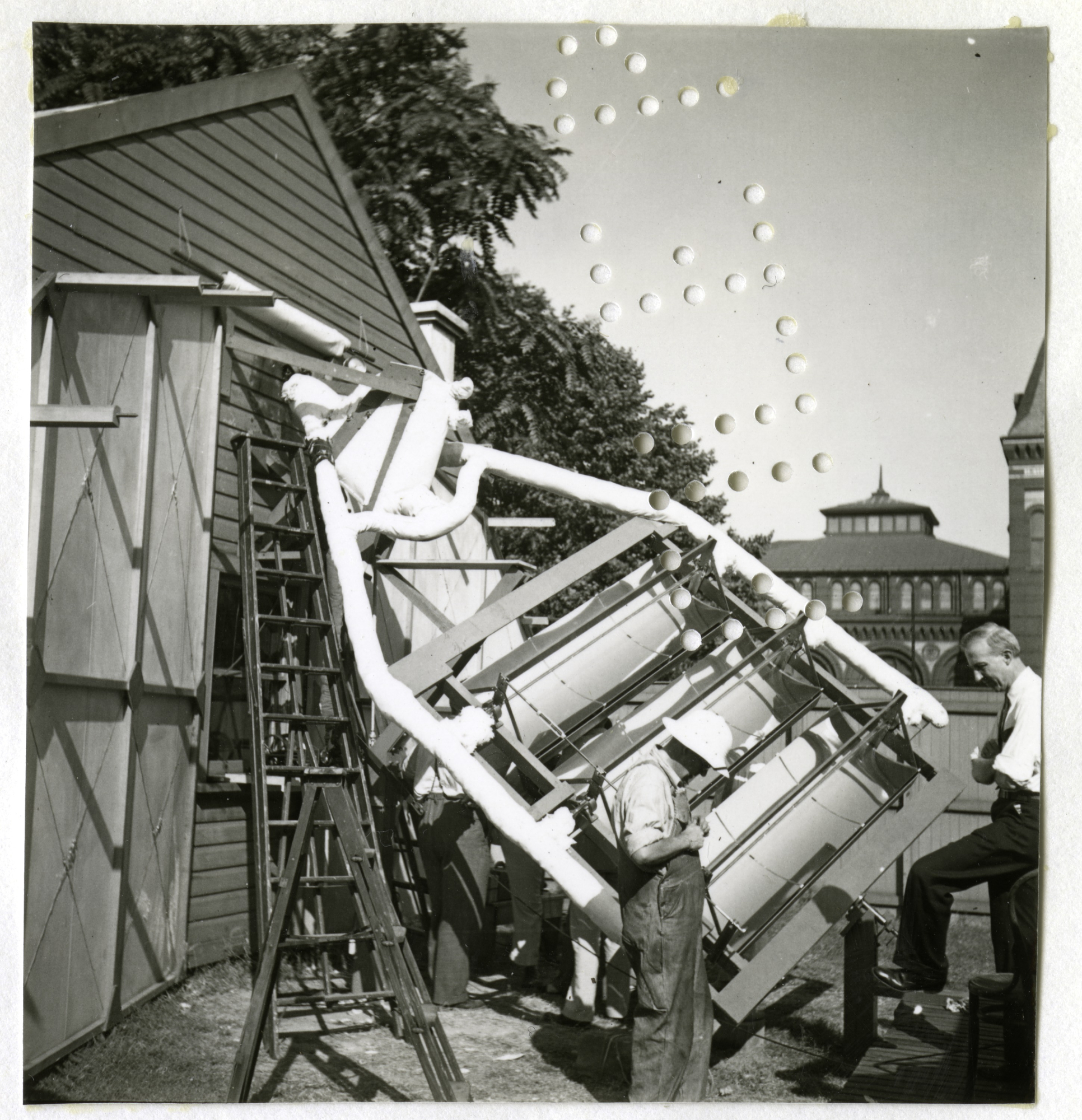 Preparations for the solar broadcast, 1936.