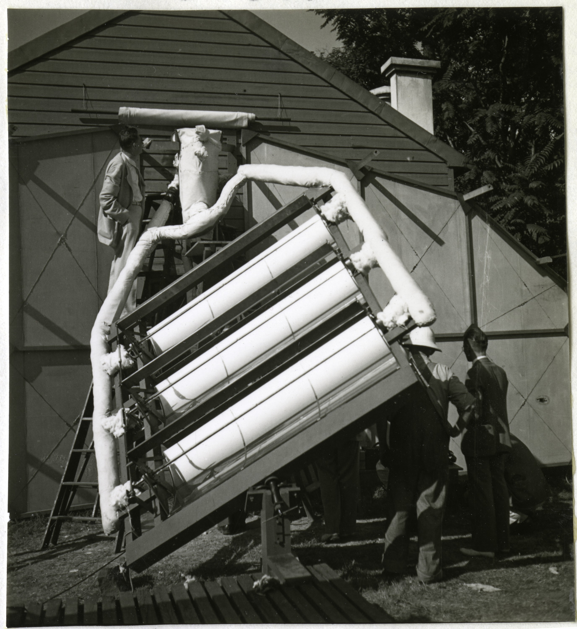 Charles G. Abbot's solar panels being prepared for the NBC broadcast, 1936.