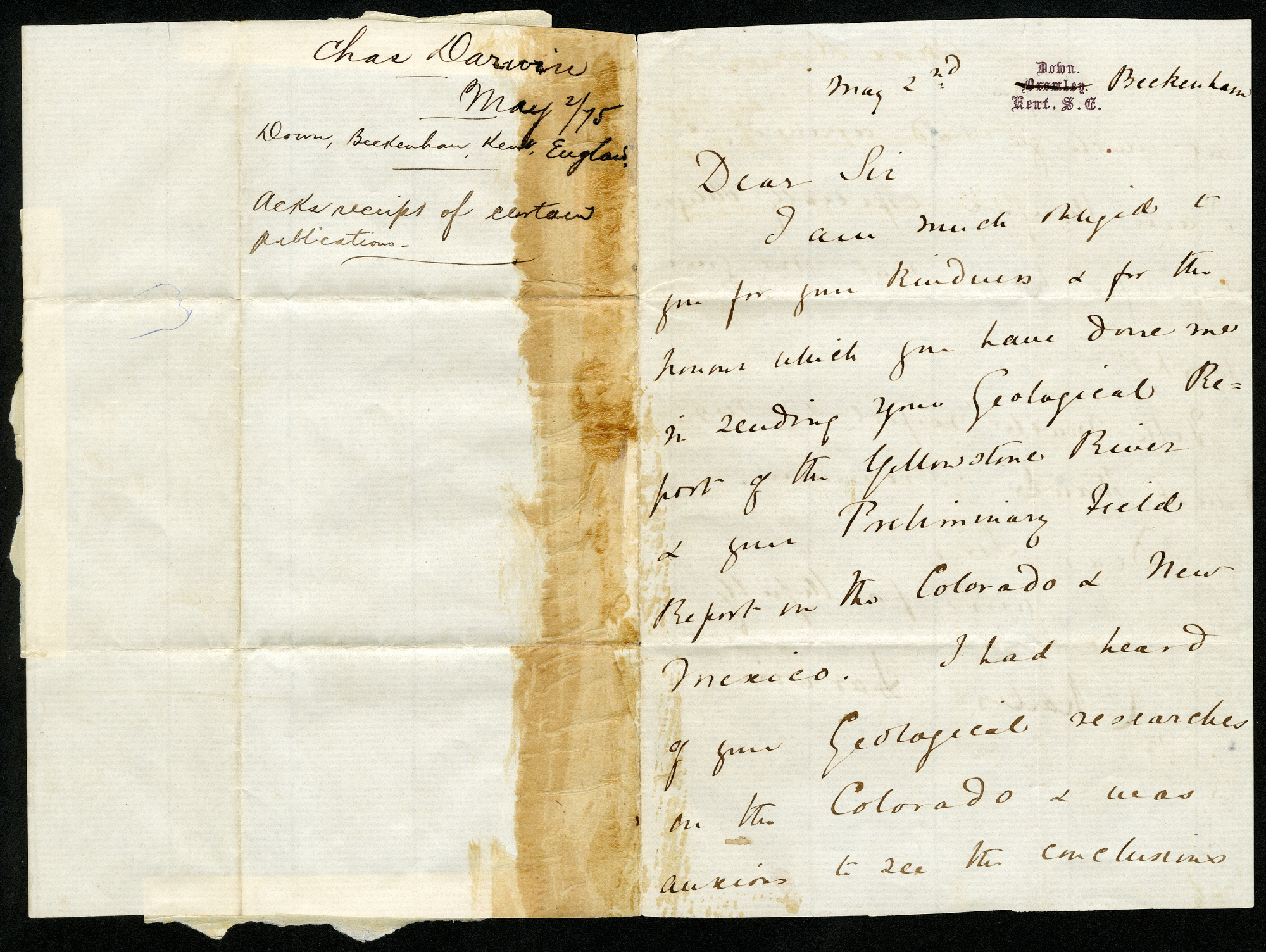 """A letter dated May 2nd and addressed as """"Dear Sir."""""""