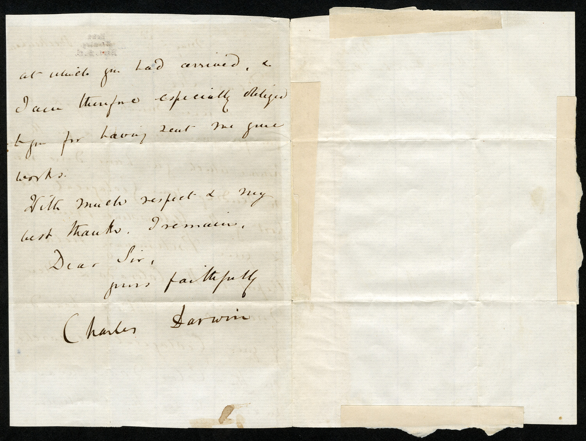 The second page of the letter signed by Charles Darwin.