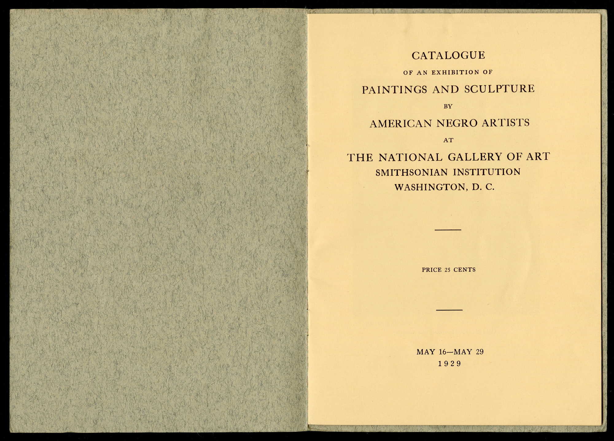 Paintings and Sculpture by American Negro Artists at the National Gallery of Art, 1929.