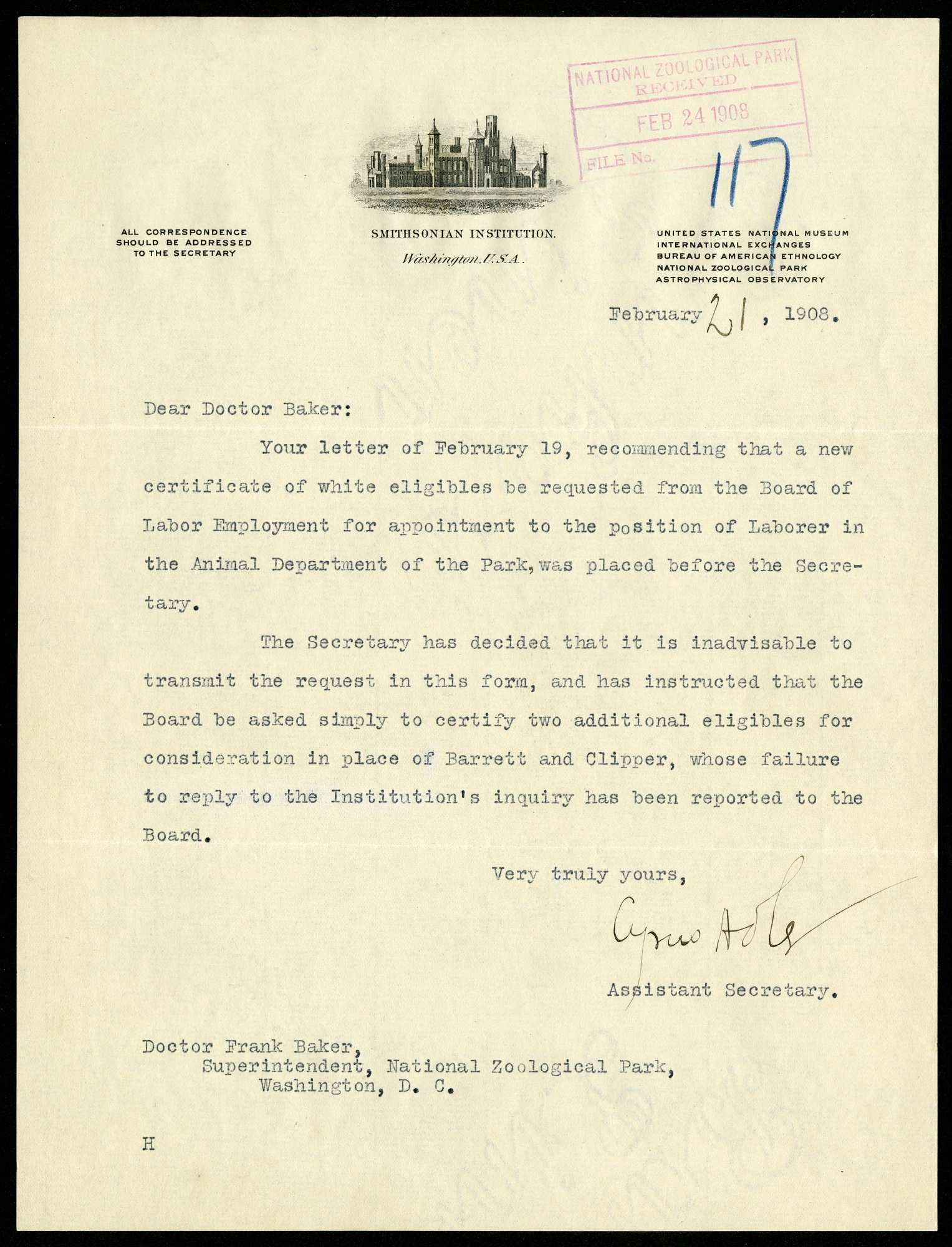Exchange of letters between Walcott, his assistant and zoo director, 1908.