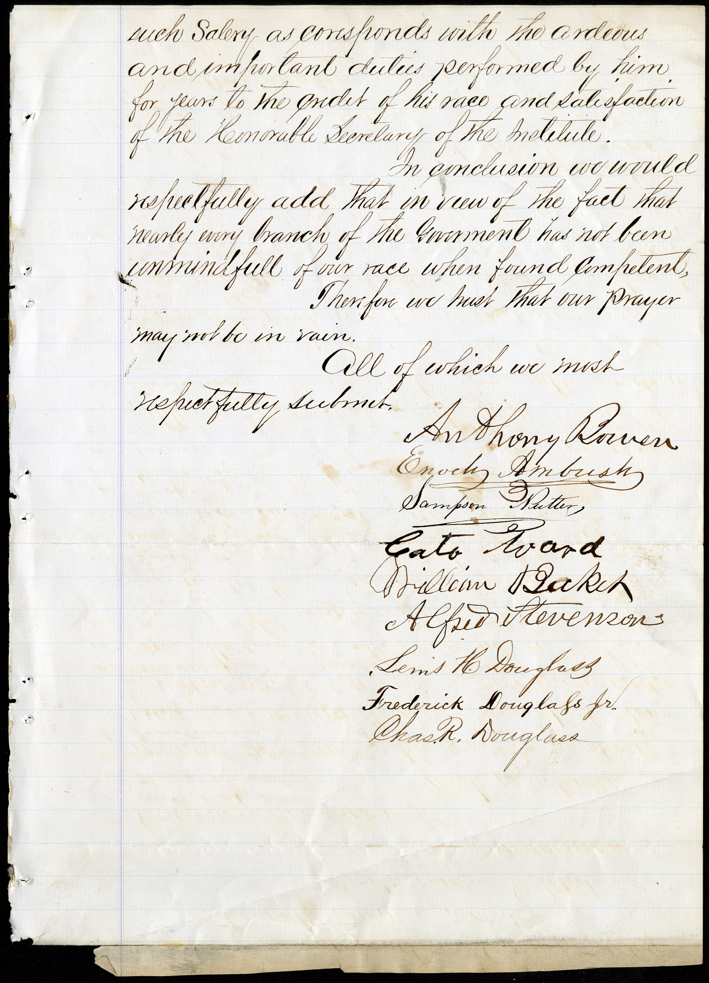 "Petition to the ""Honorable Board of Regents,"" November 13, 1869."