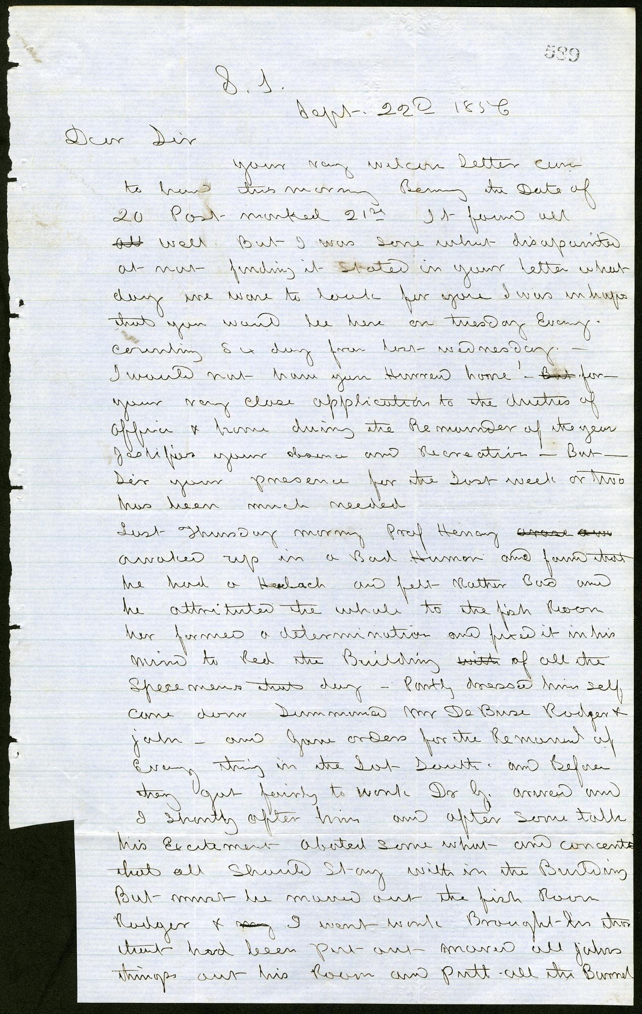 Letter from Solomon Brown to Spencer Baird, September 22, 1856.