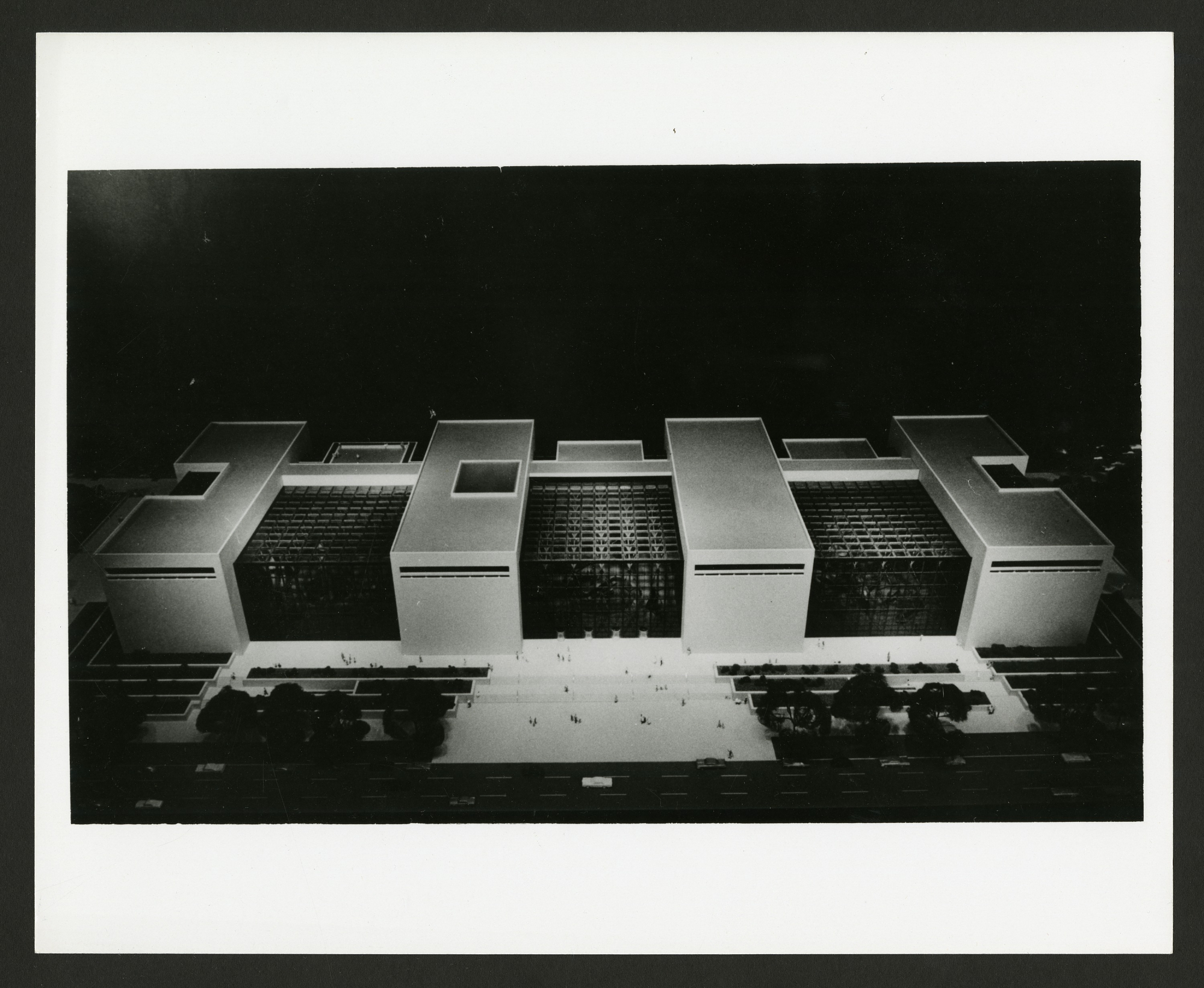 B&W image of a model of a non-selected proposed design for the National Air and Space Museum Bui
