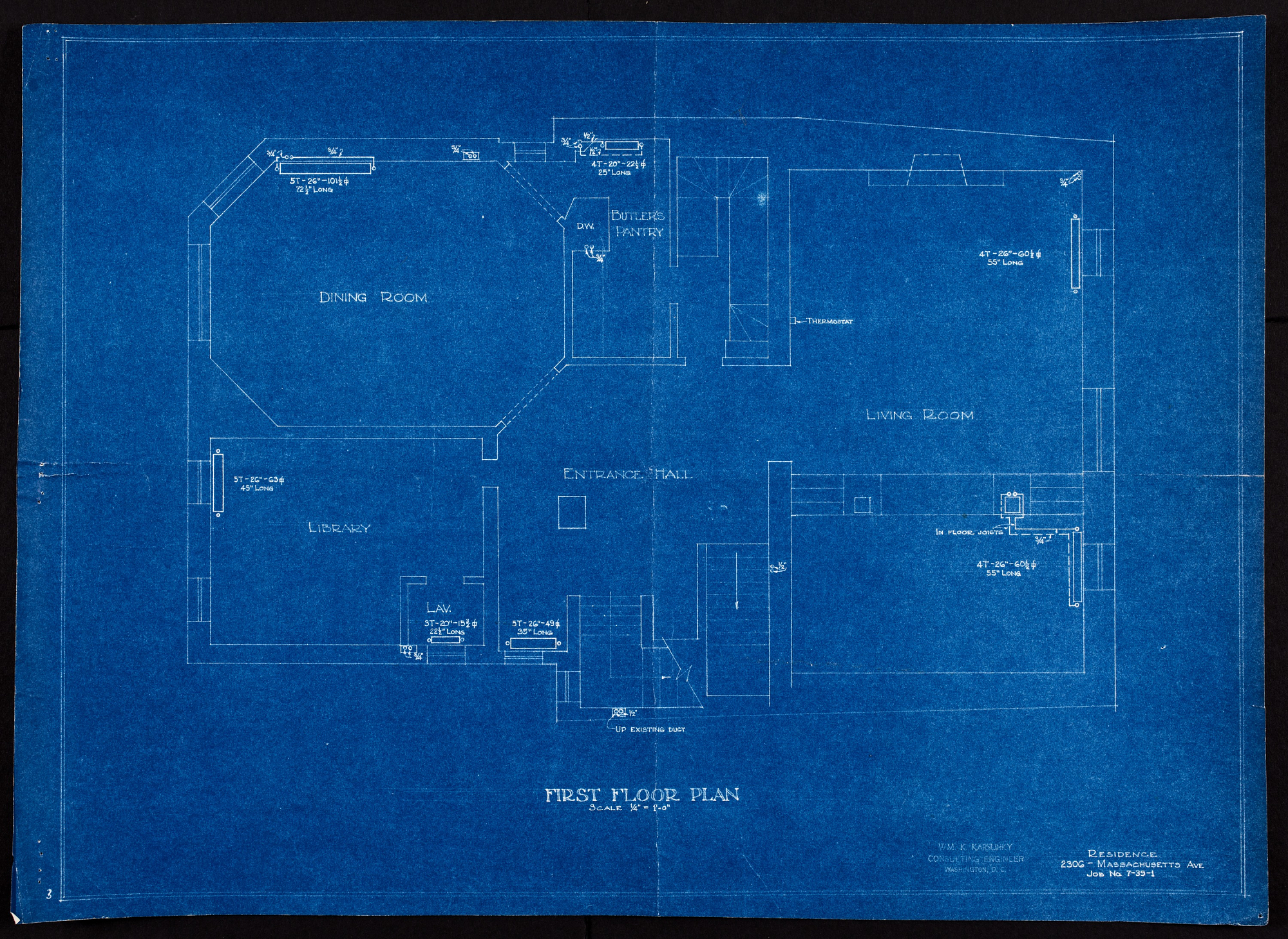 Blueprint of first floor showing dining room, living room, entrance, and library.
