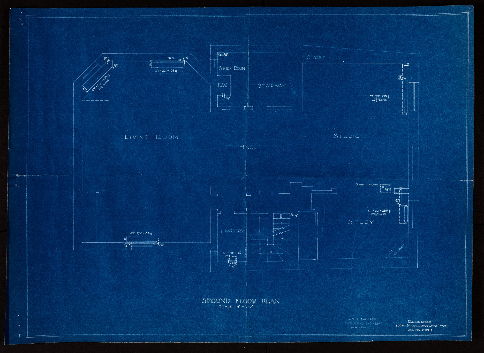 Blueprint of first floor showing hall, living room, studio, and study.
