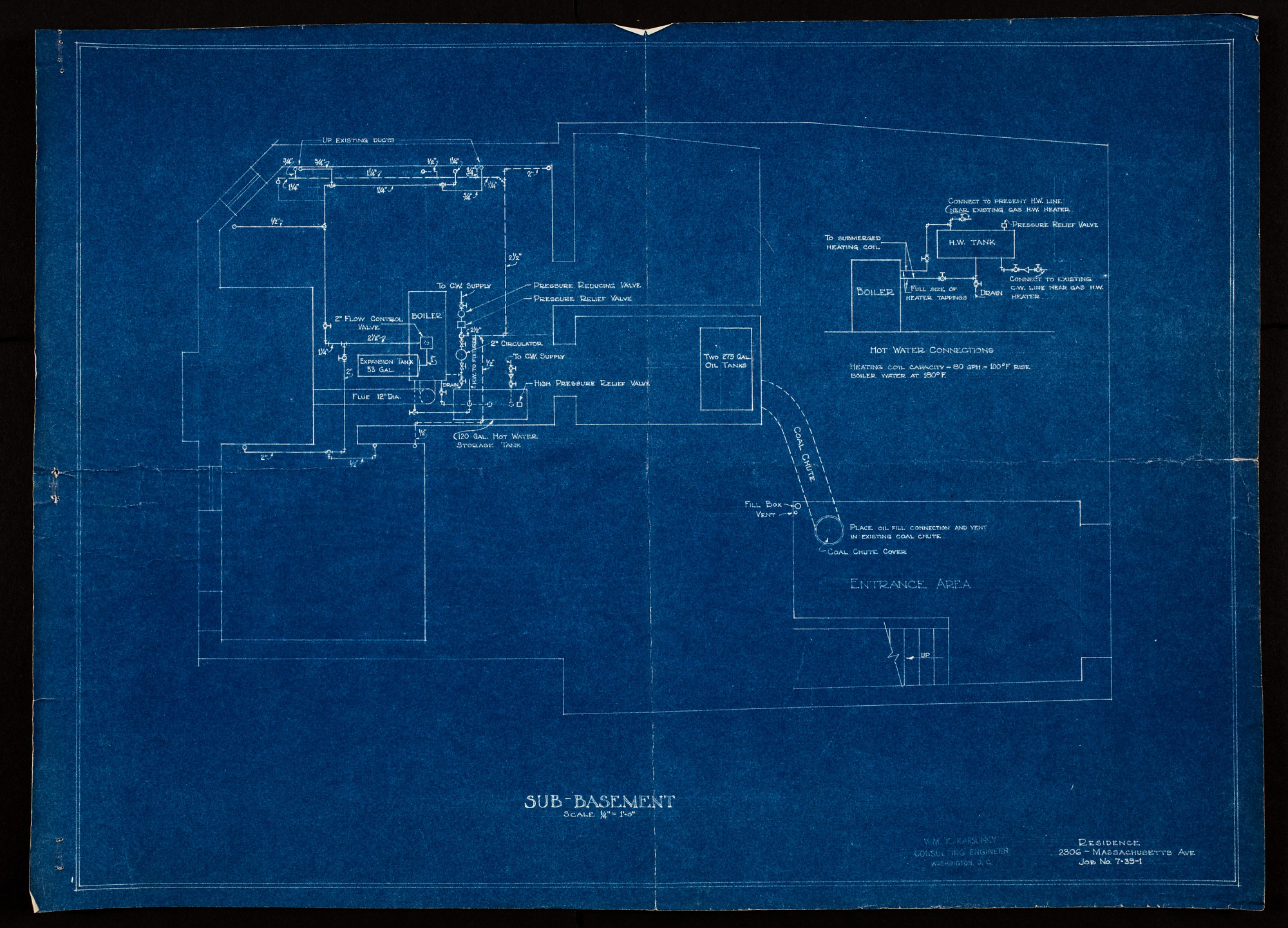 Sub-Basement plan showing mechanicals including boiler room, oil tanks, and more.