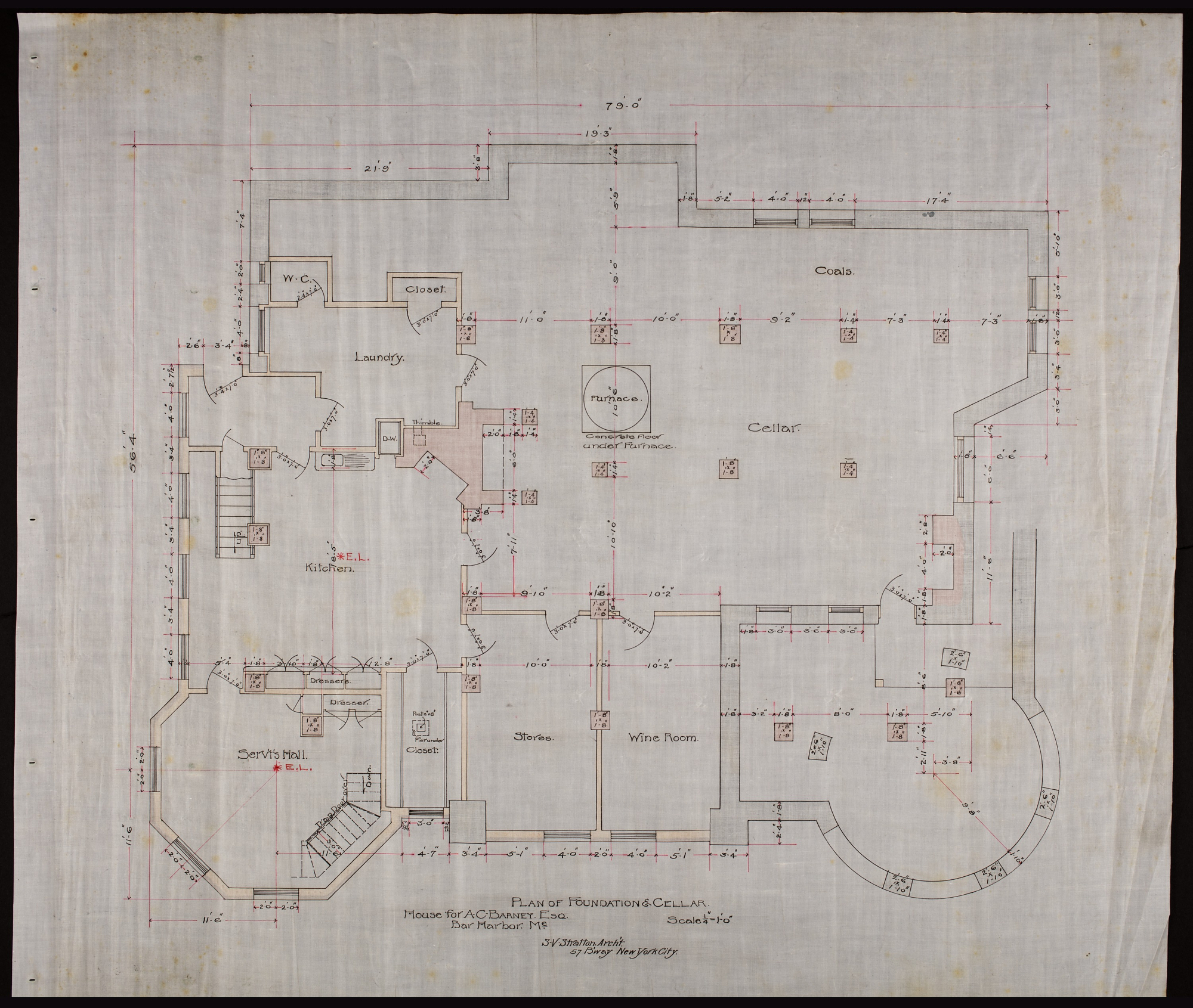 Plan showing servant's hall, kitchen, bathroom, laundry, cellar, stores, coals, and wine room