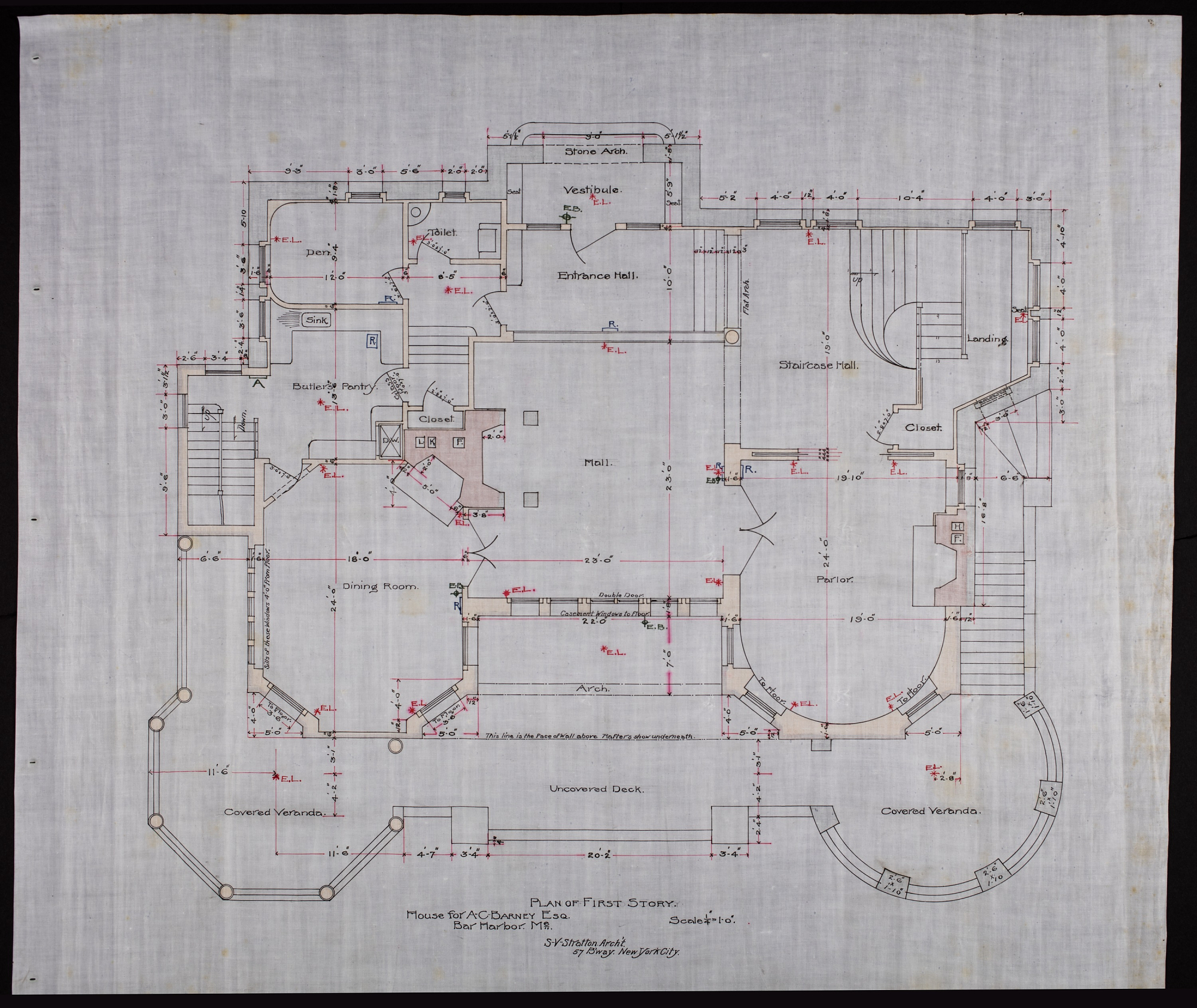 Plan showing den, butler's pantry, dining room, mall, and parlor