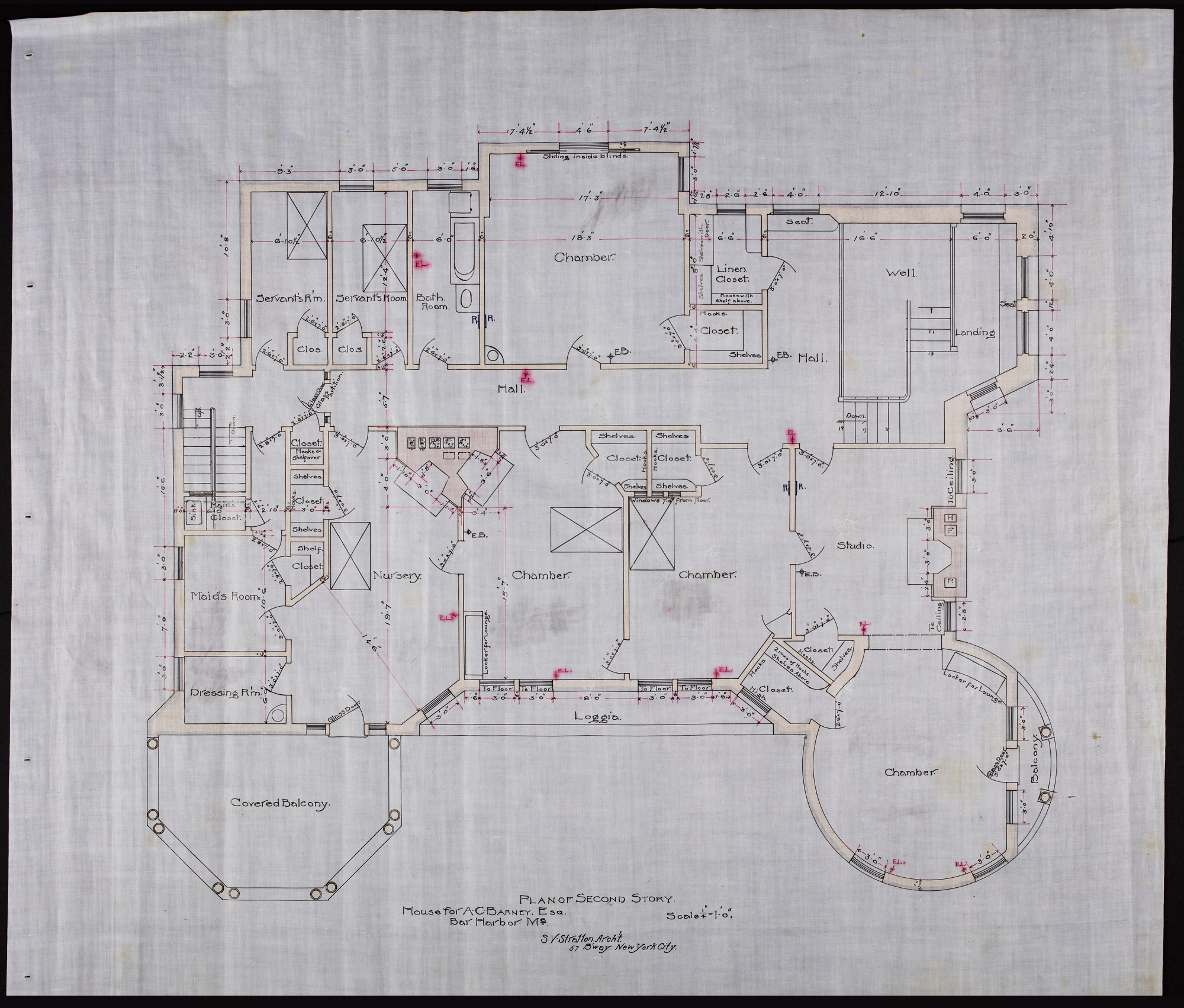Plan showing 2 servant's rooms, maid's room, dressing room, nursery, 4 chambers, studio, bathroom, a