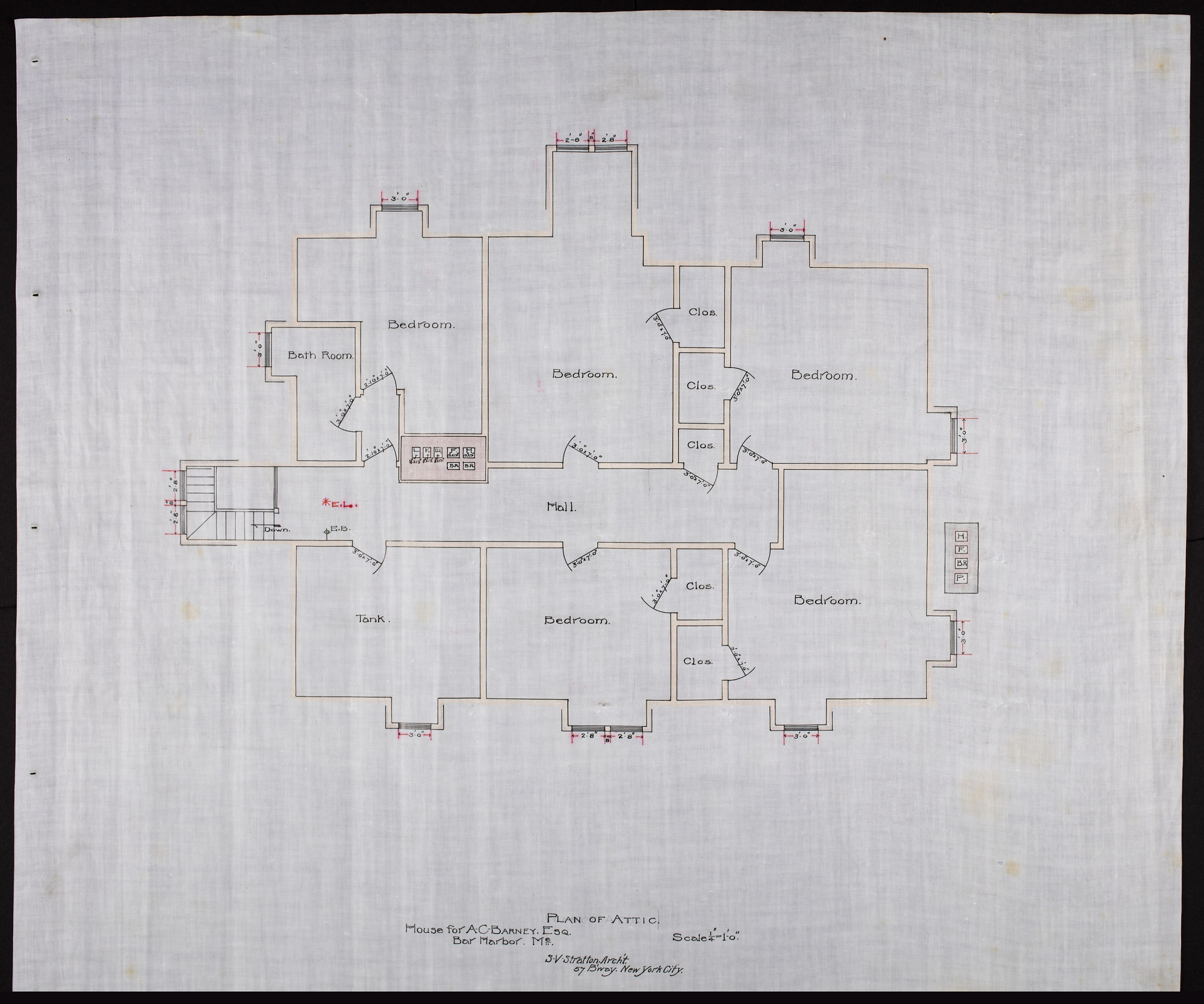 Plan showing 5 bedrooms, 1 bathroom, and tank