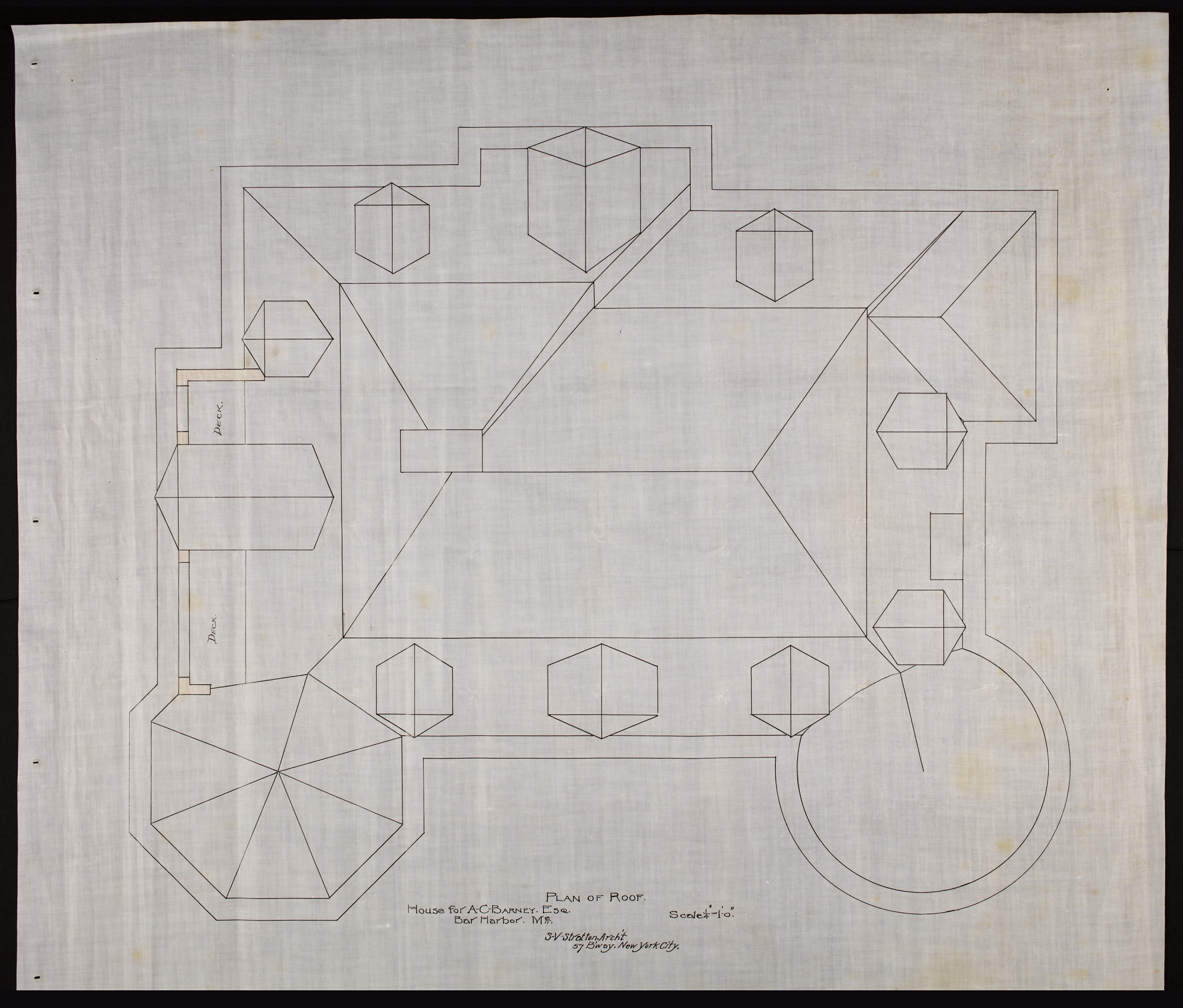 Plan showing architectural features of roof. Plan signed by Stratton Architect in New York City.