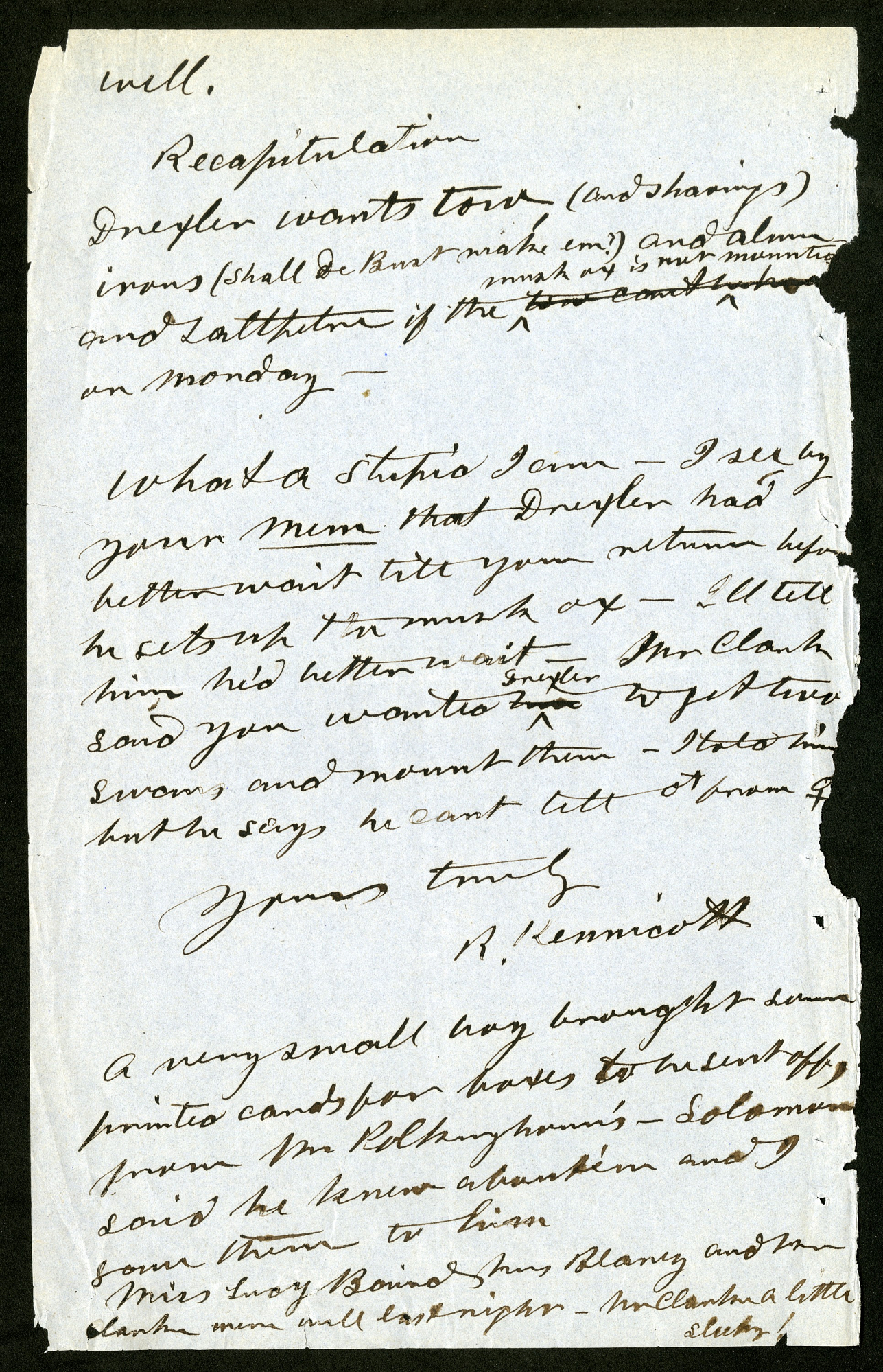Record unit 7002, Box 27, Folder 3. Robert Kennicott to Spencer F. Baird, March 28, 1863.