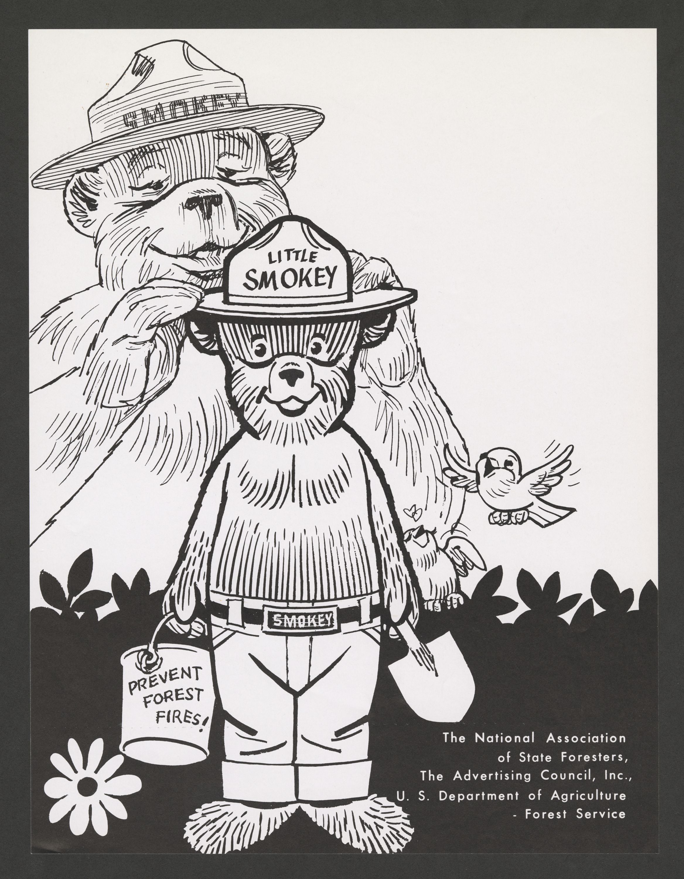 "Cartoon of a large bear with a hat that says ""Smokey"" placing a hat with the title ""Little Smokey"" o"
