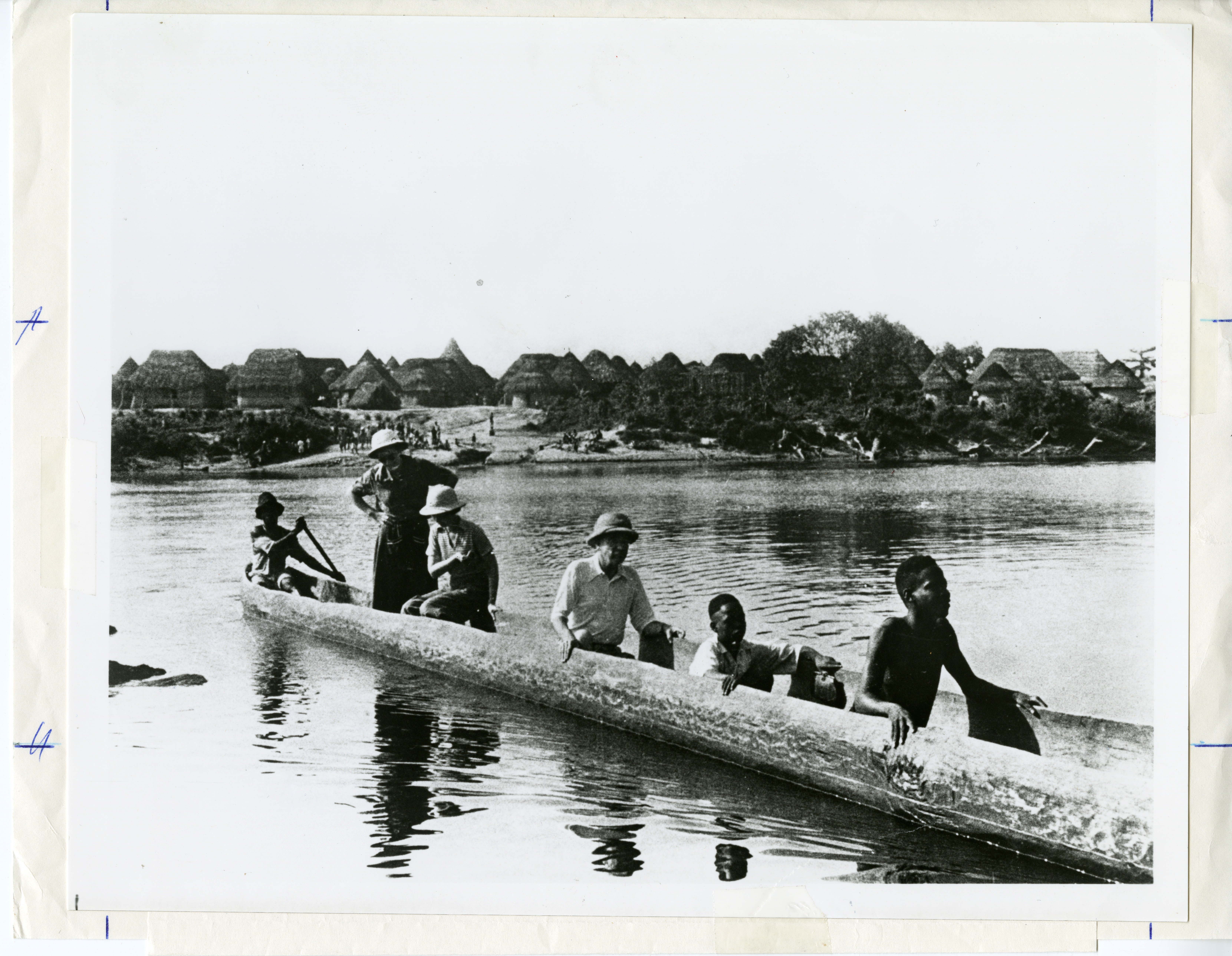 William and Lucile Mann and other ride in a canoe.