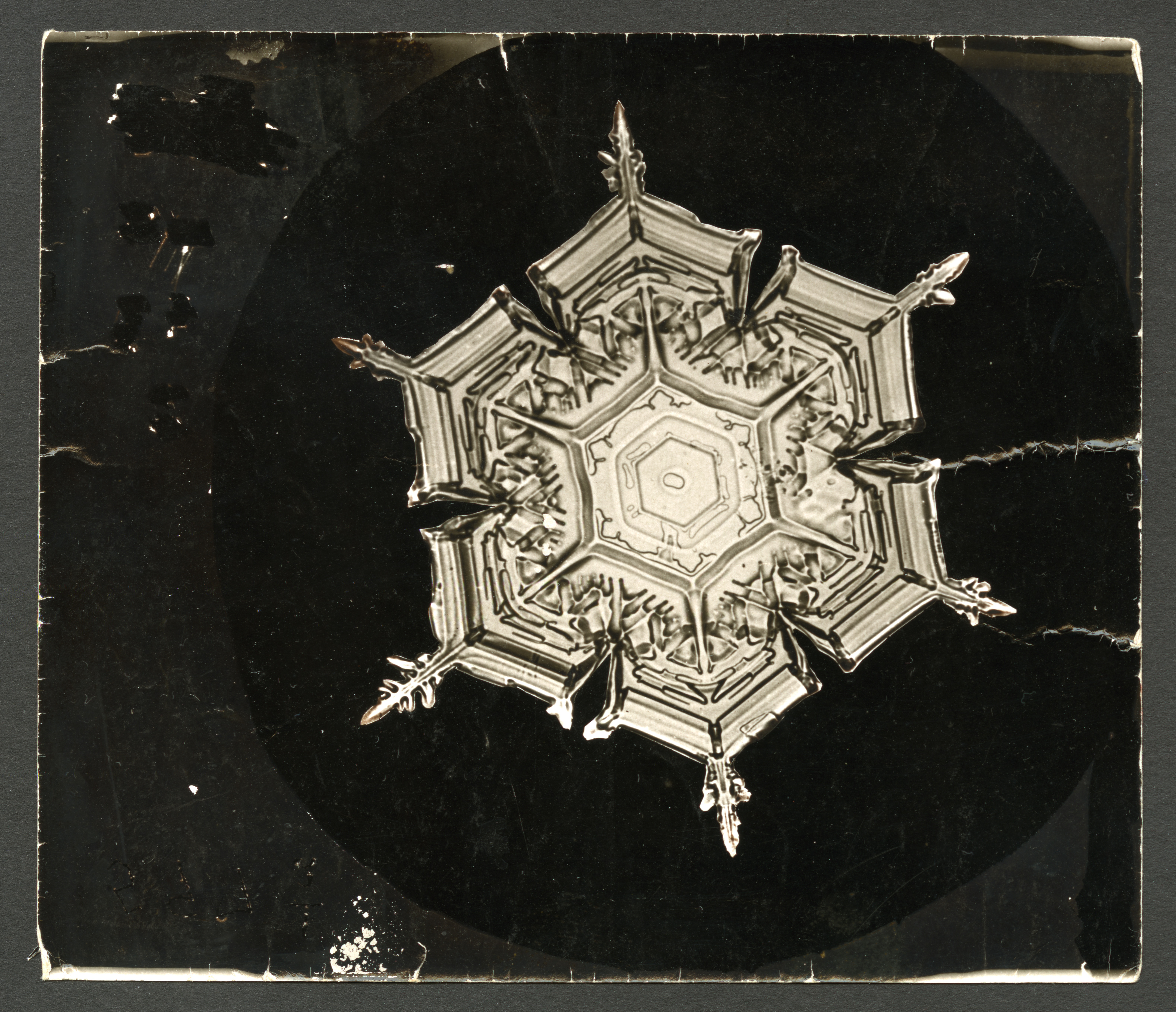 Original photograph of a thicker snowflake with six small points.