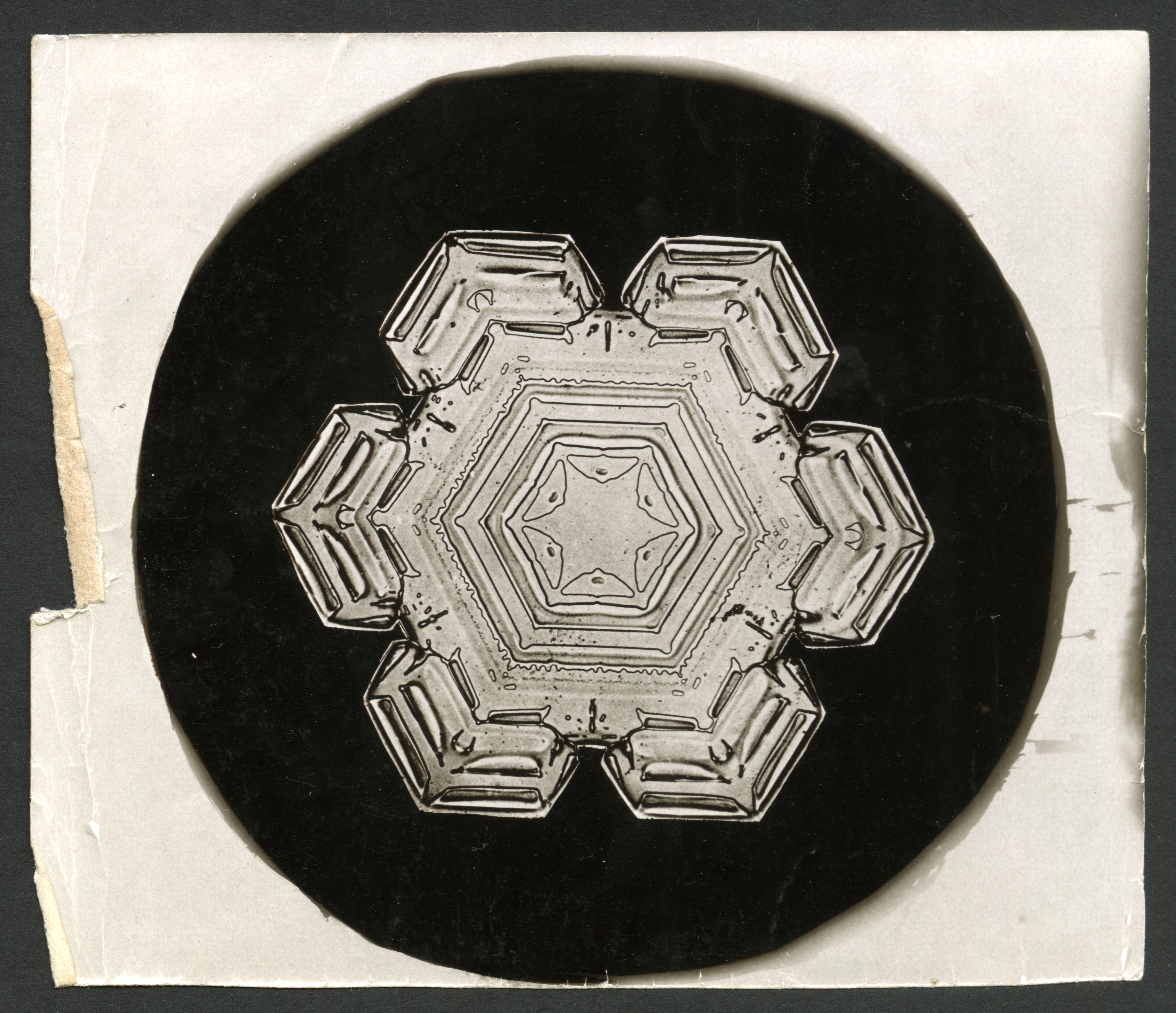 Original photograph of a snowflake with six thick limbs and a star with six points in the middle.