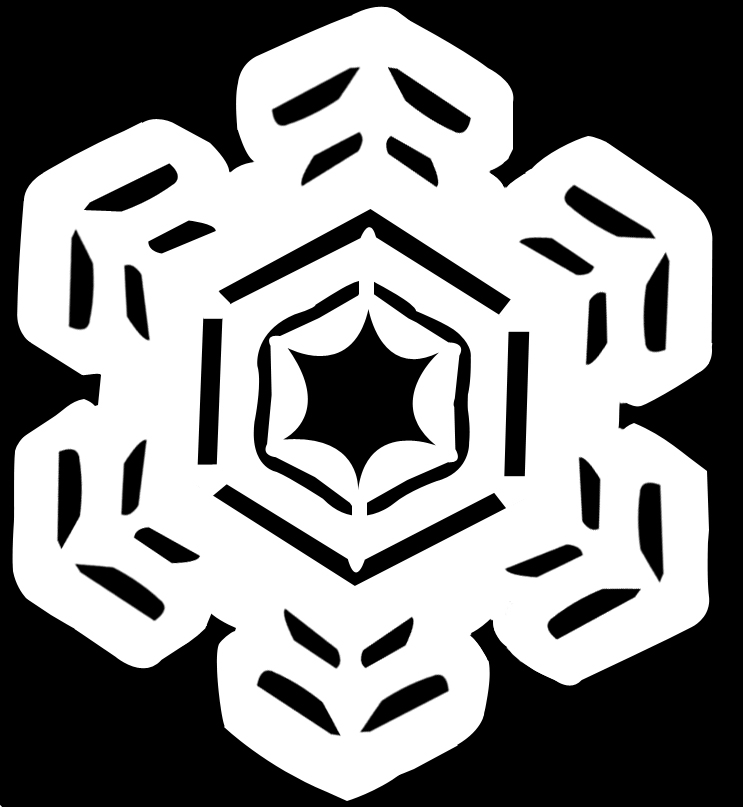 Craft cutout of a snowflake with six thick limbs and a star with six points in the middle.