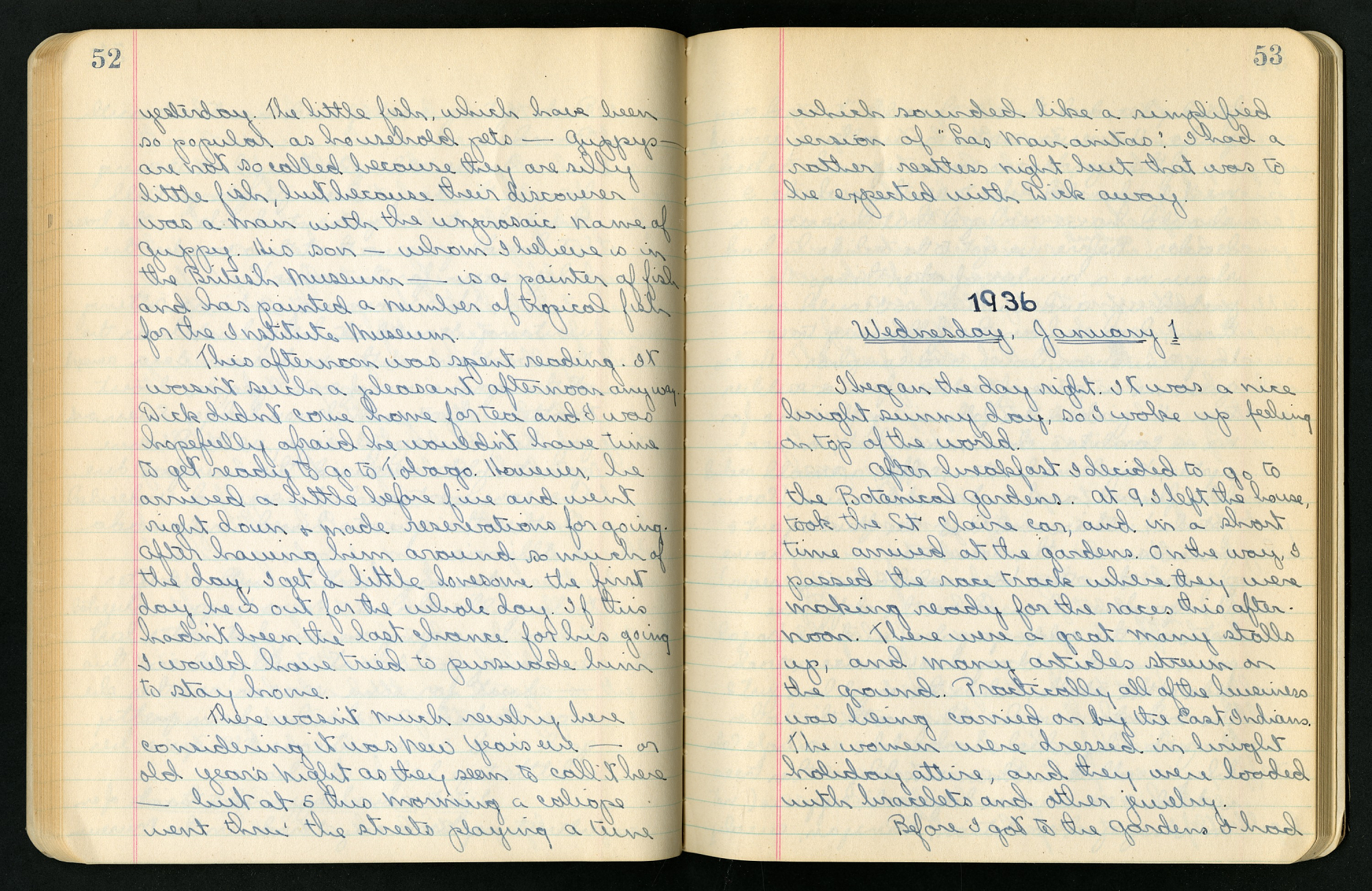 "Handwritten notes in an open book. Written in bold on the right page is ""1936."""