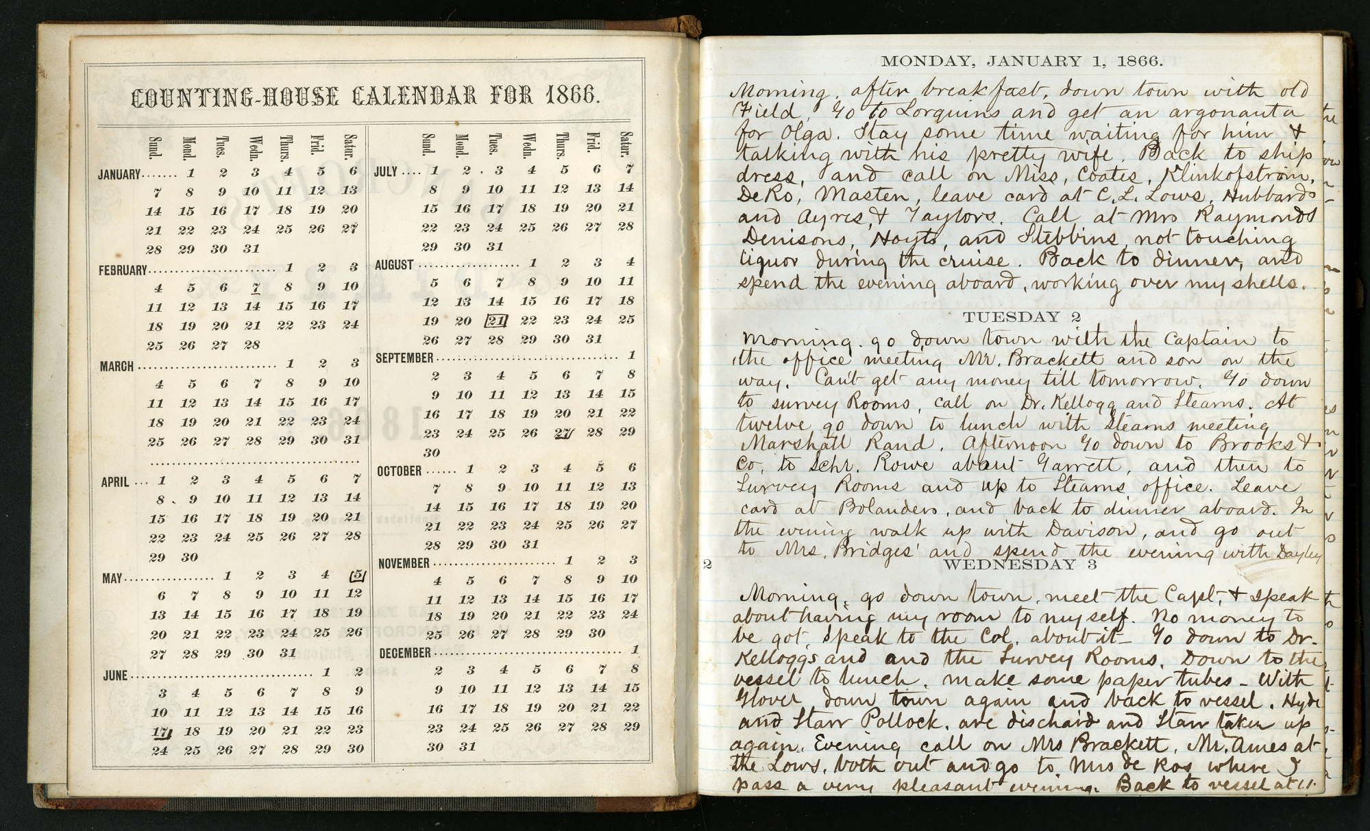 An open book with handwritten notes. The left page is an 1866 calendar. The right page is a a daily