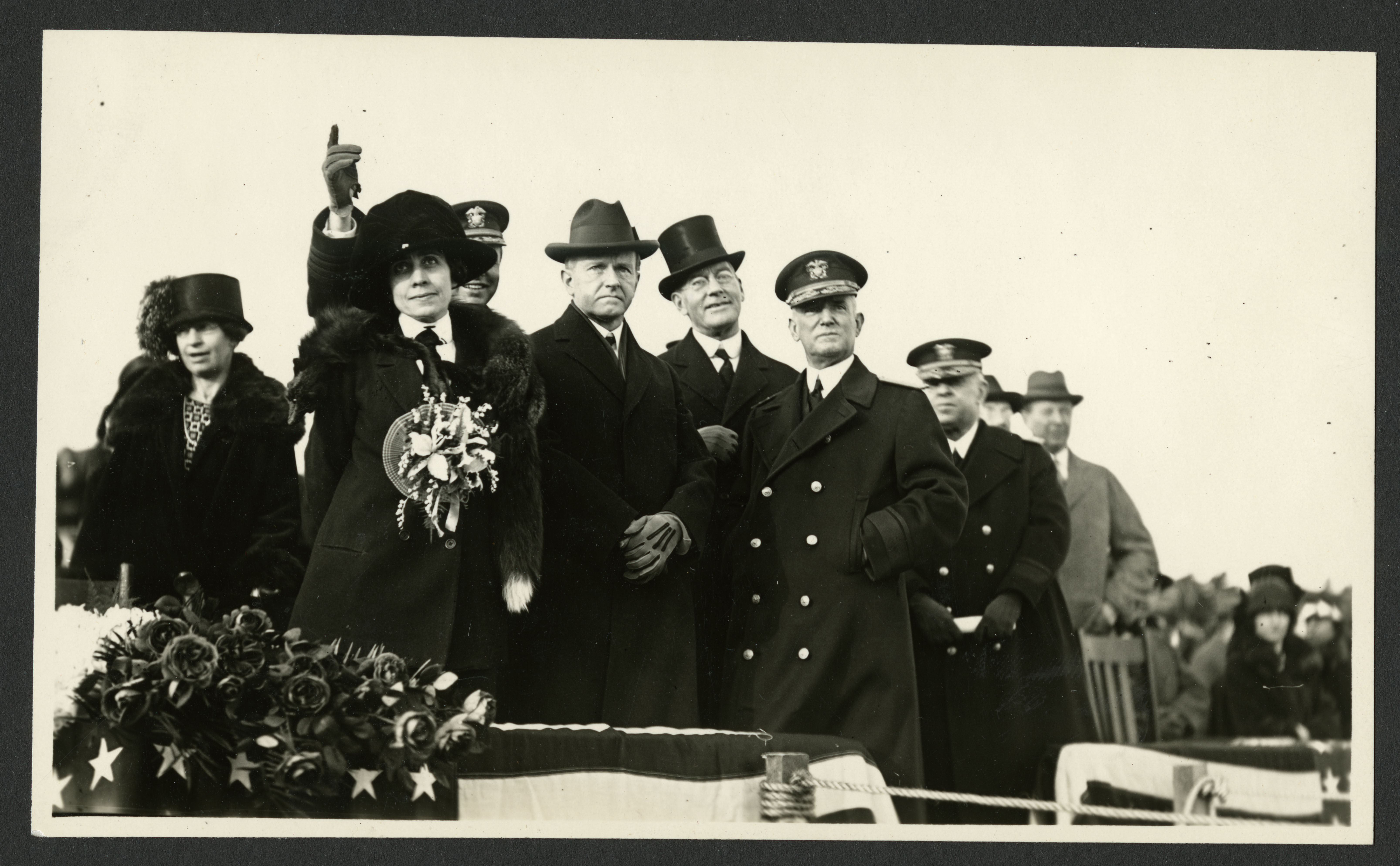 President Calvin Coolidge and first lady Grace Coolidge at the christening of the dirigible U.S.S. Los Angeles.