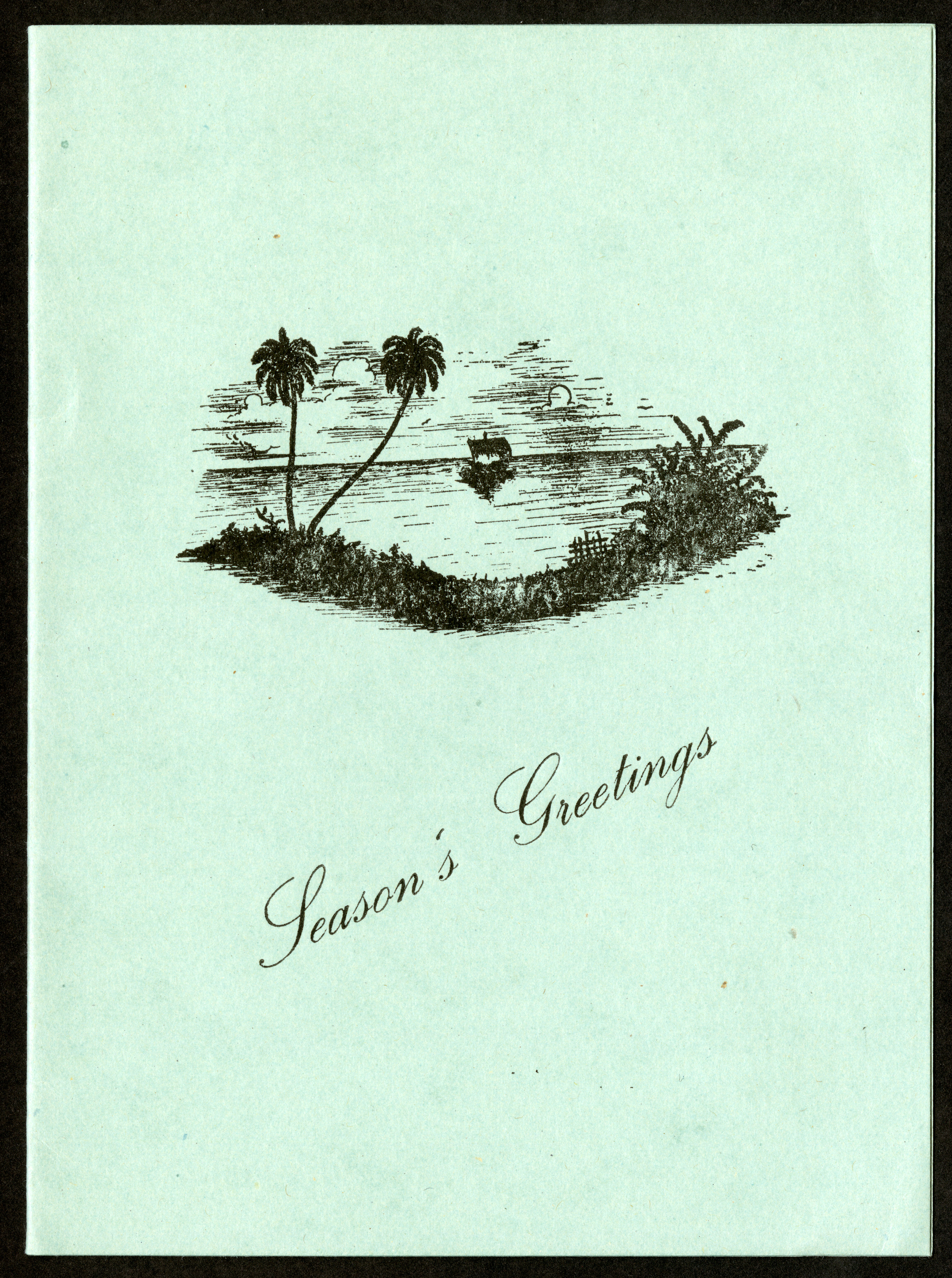 Front of a Season's Greetings Card from S. Jones and Family to Isaac Ginsburg.